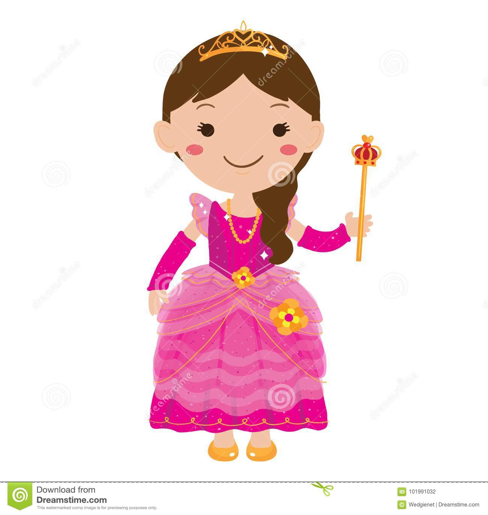 Vektorillustration av unga flickan som bär den rosa prinsessaklänningen