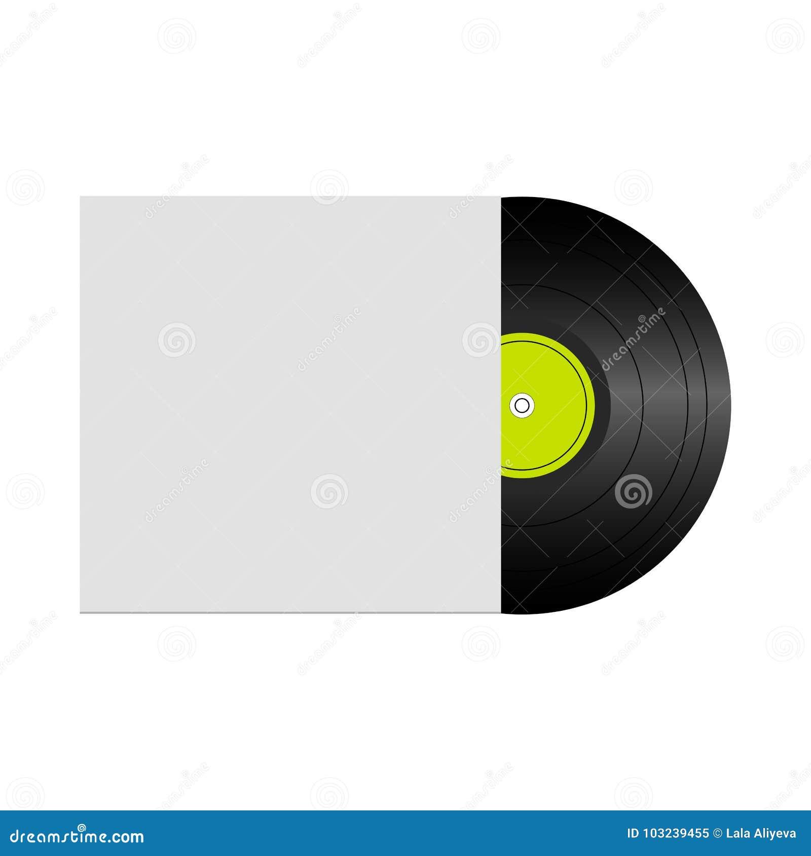 Vektorillustration av vinylrekordet i kuvert med utrymme för din text