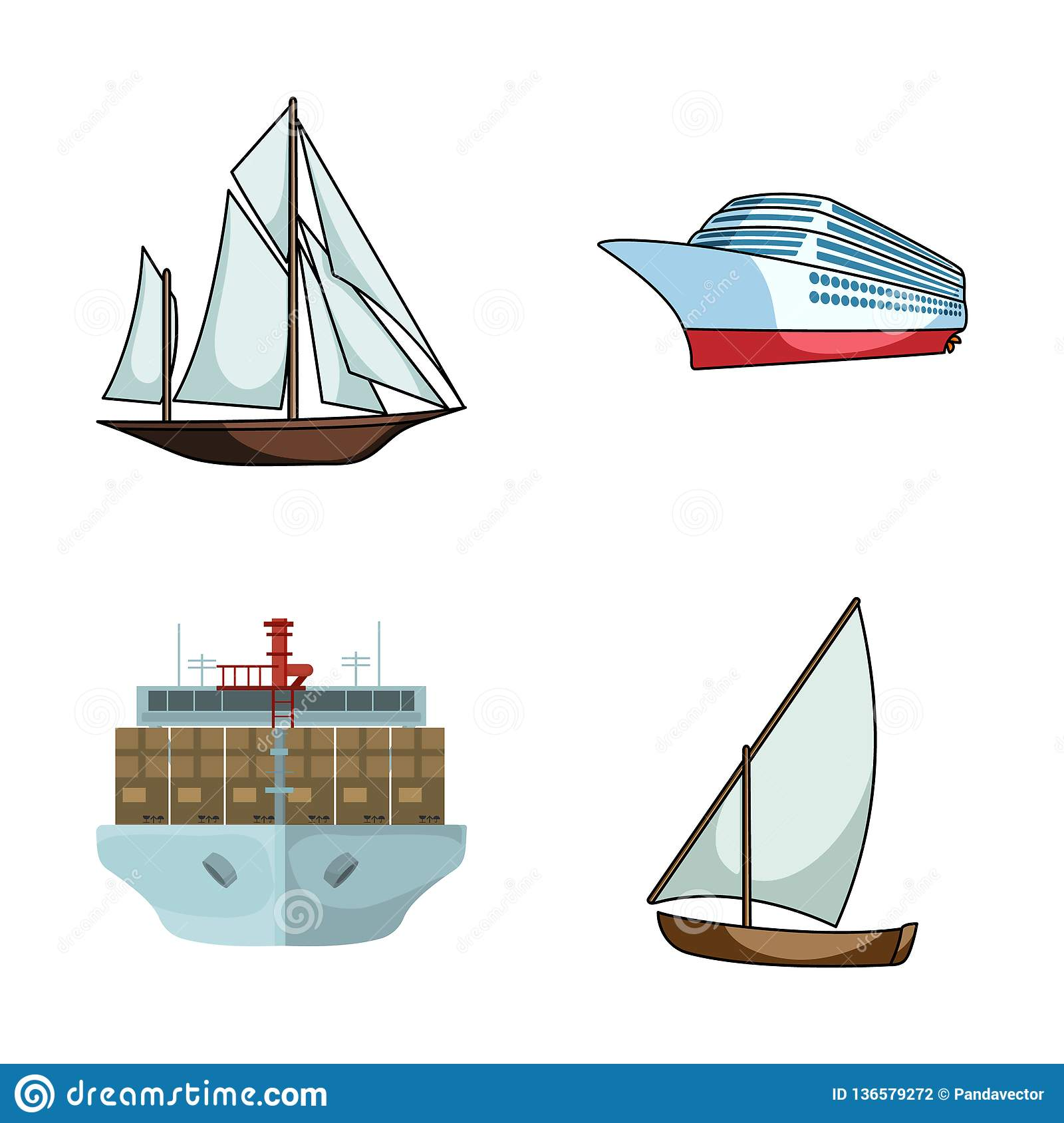 Vektorillustration av yacht- och skeppsymbolet Ställ in av yacht- och kryssningvektorsymbolen för materiel