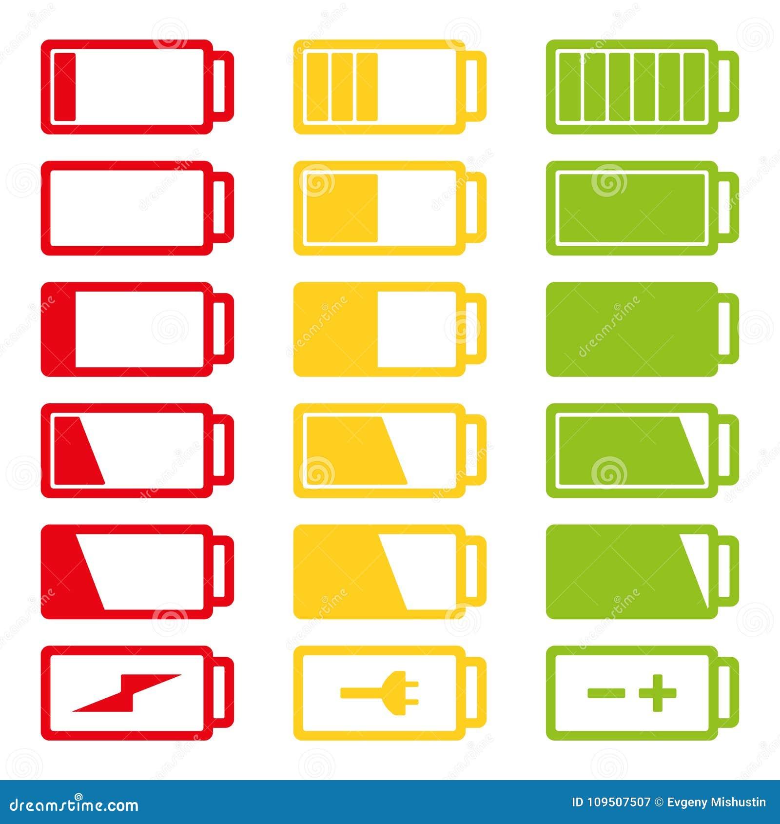 Vektorillustration der flachen Ikone der Batterie gesetzte lokalisiert auf weißem Hintergrund eps10