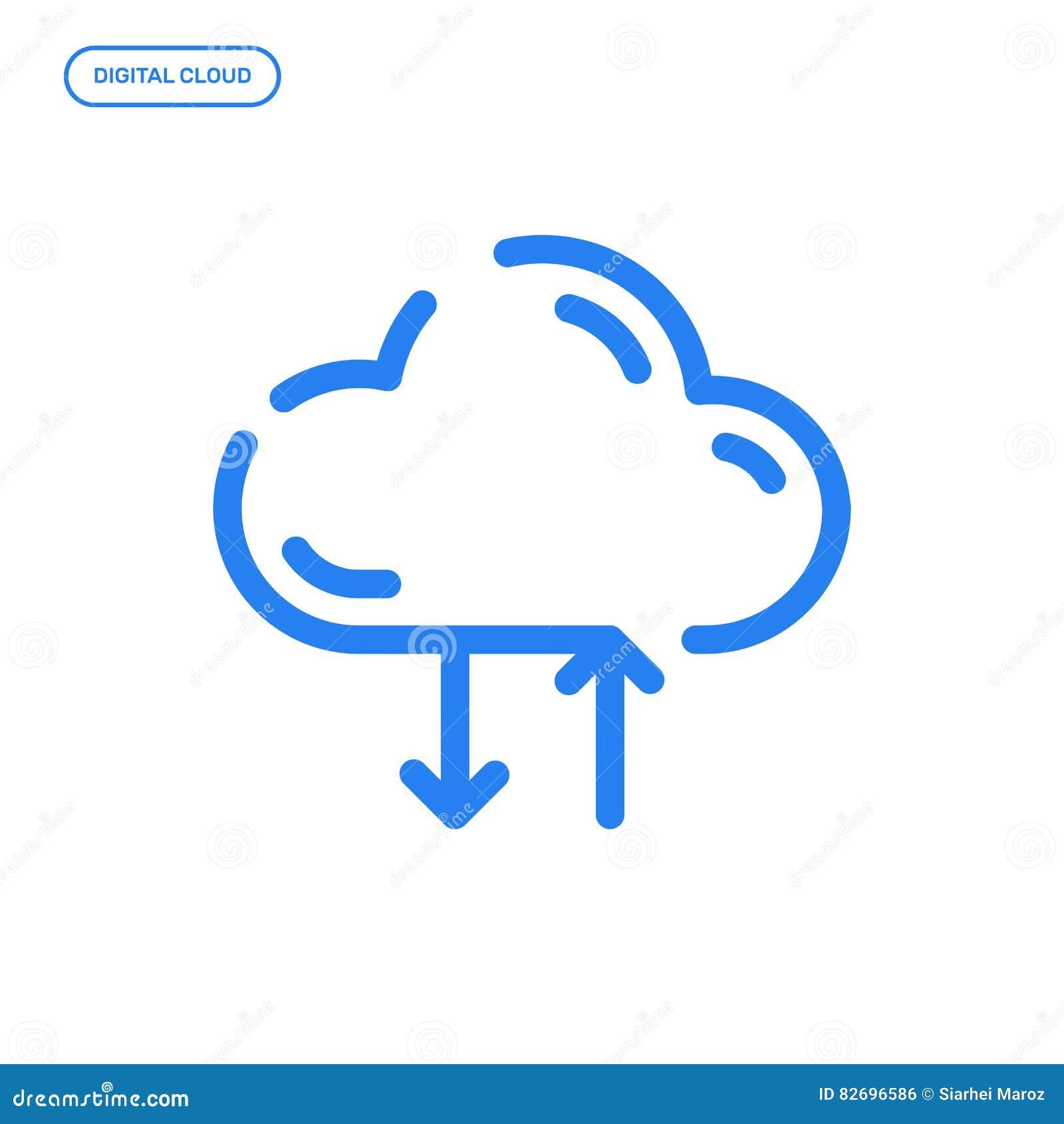 Vektorillustration der flachen Linie Ikone Grafikdesignkonzept des digitalen Wolkenspeichers
