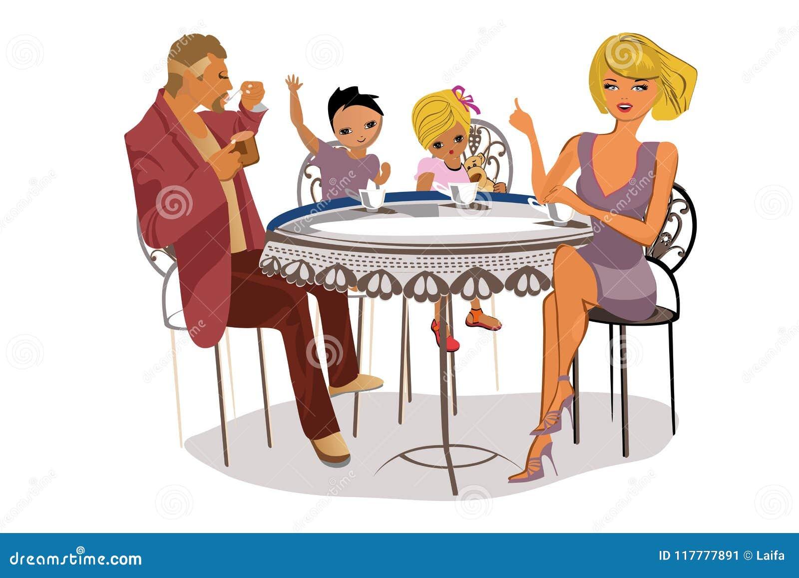 Vektorillustration der glücklichen vierköpfiger Familie