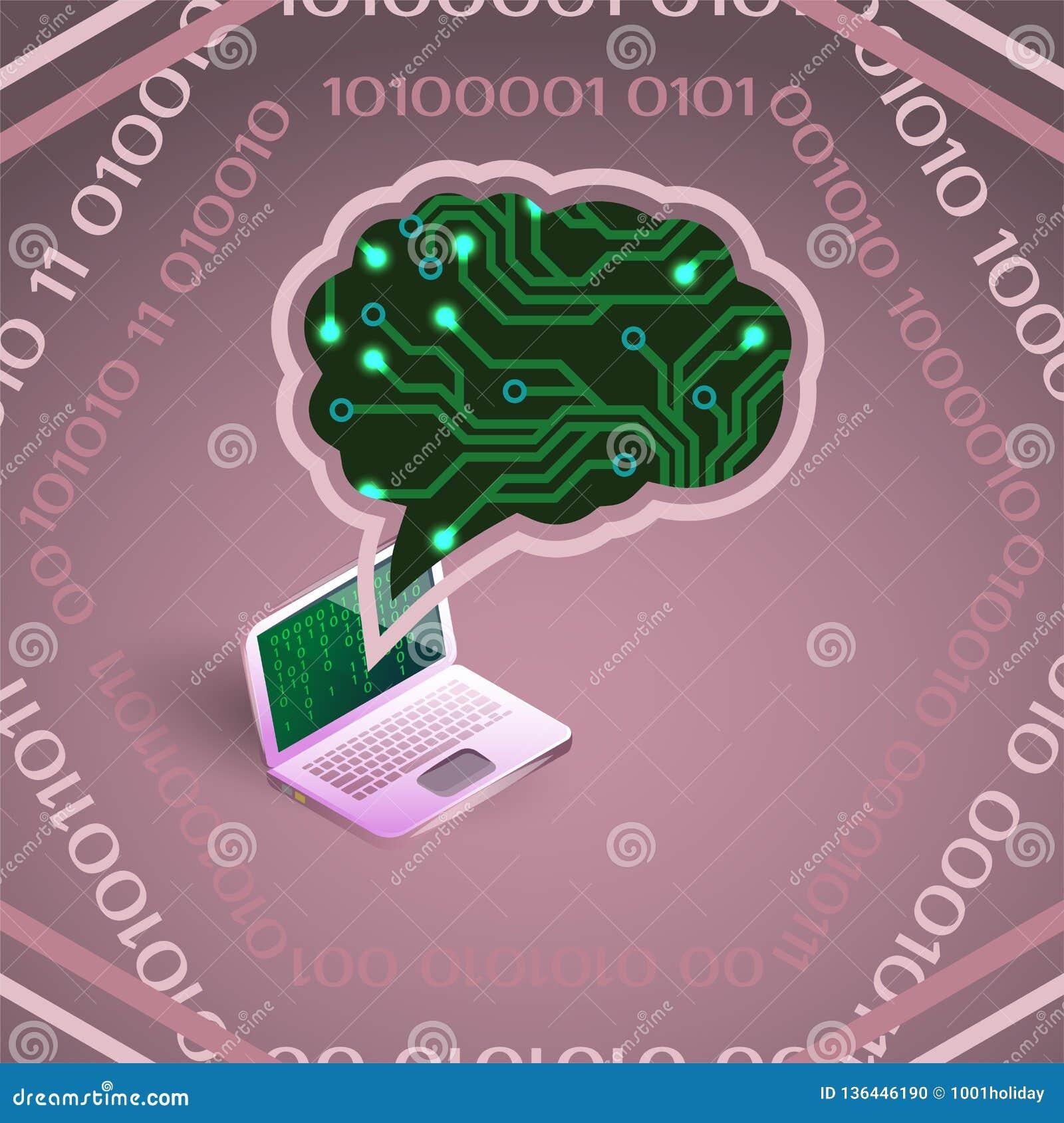 Vektorillustration der künstlichen Intelligenz der Leiterplatte und des Laptops auf Rosa