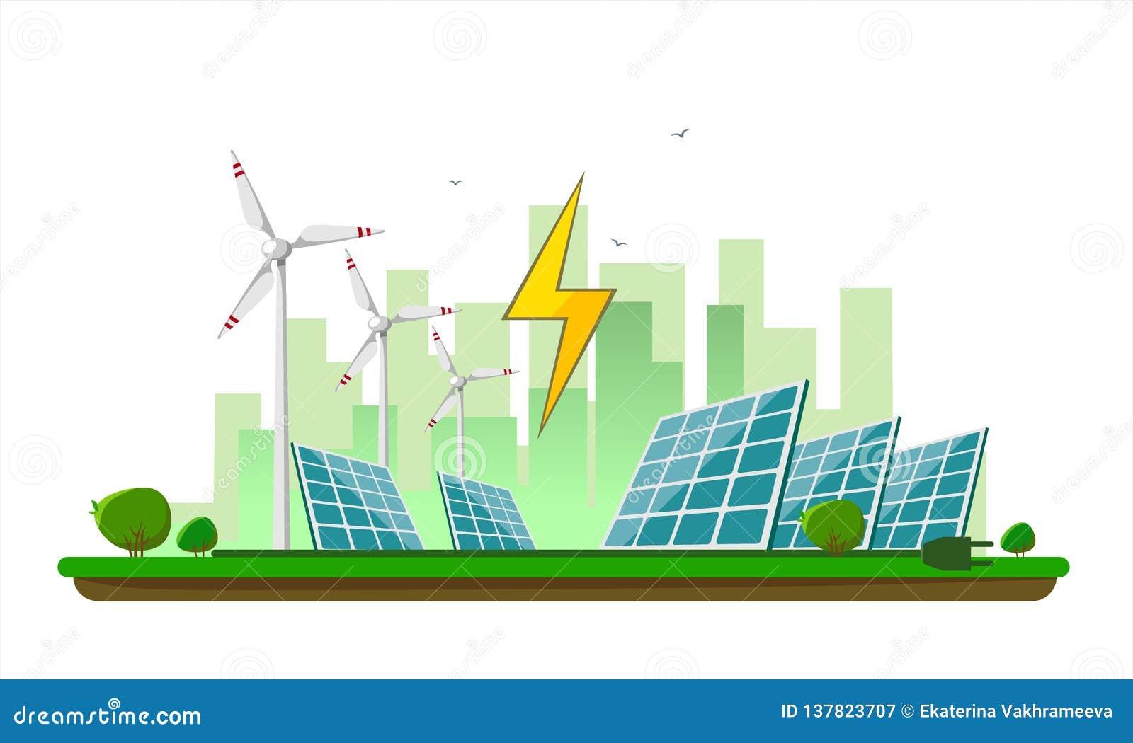 Vektorillustration der sauberen elektrischen Energie von den auswechselbaren Quellen Sonne und Wind auf Weiß Kraftwerk-Stationsge
