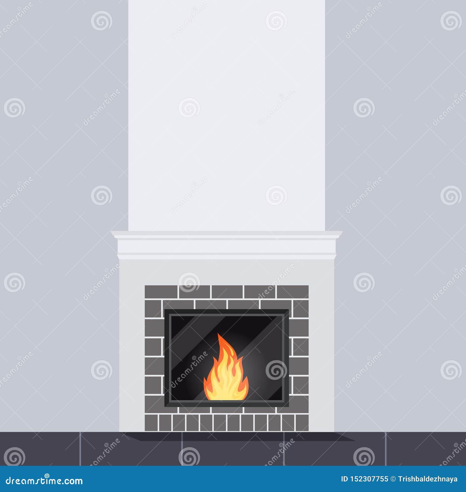 Vektorillustration der Wohnzimmerszene mit weißem Steinkaminabschluß oben