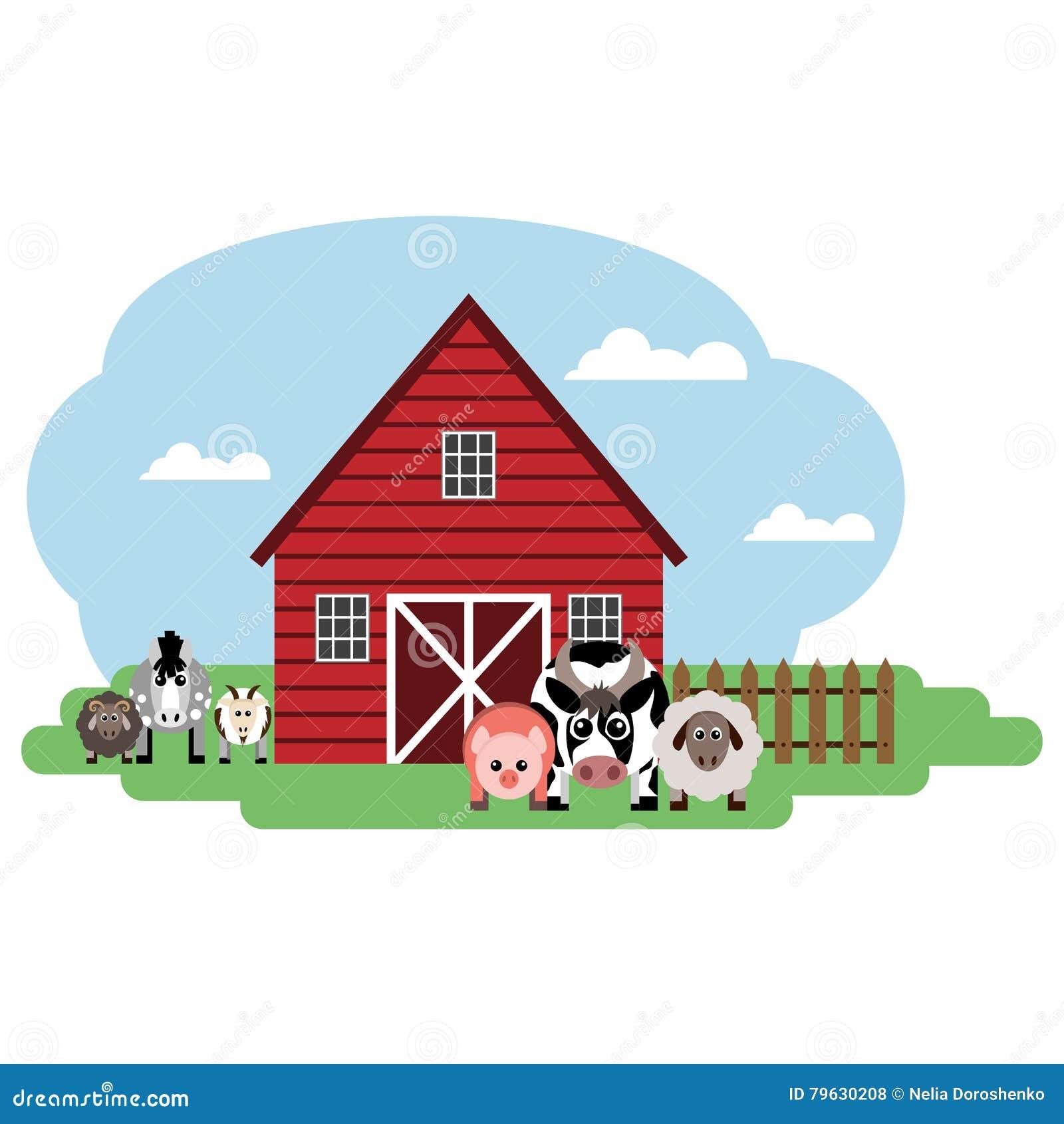 Vektorillustration des Bauernhofes Kuh, Schaf, Schwein, Pferd, Schaf, Ziege