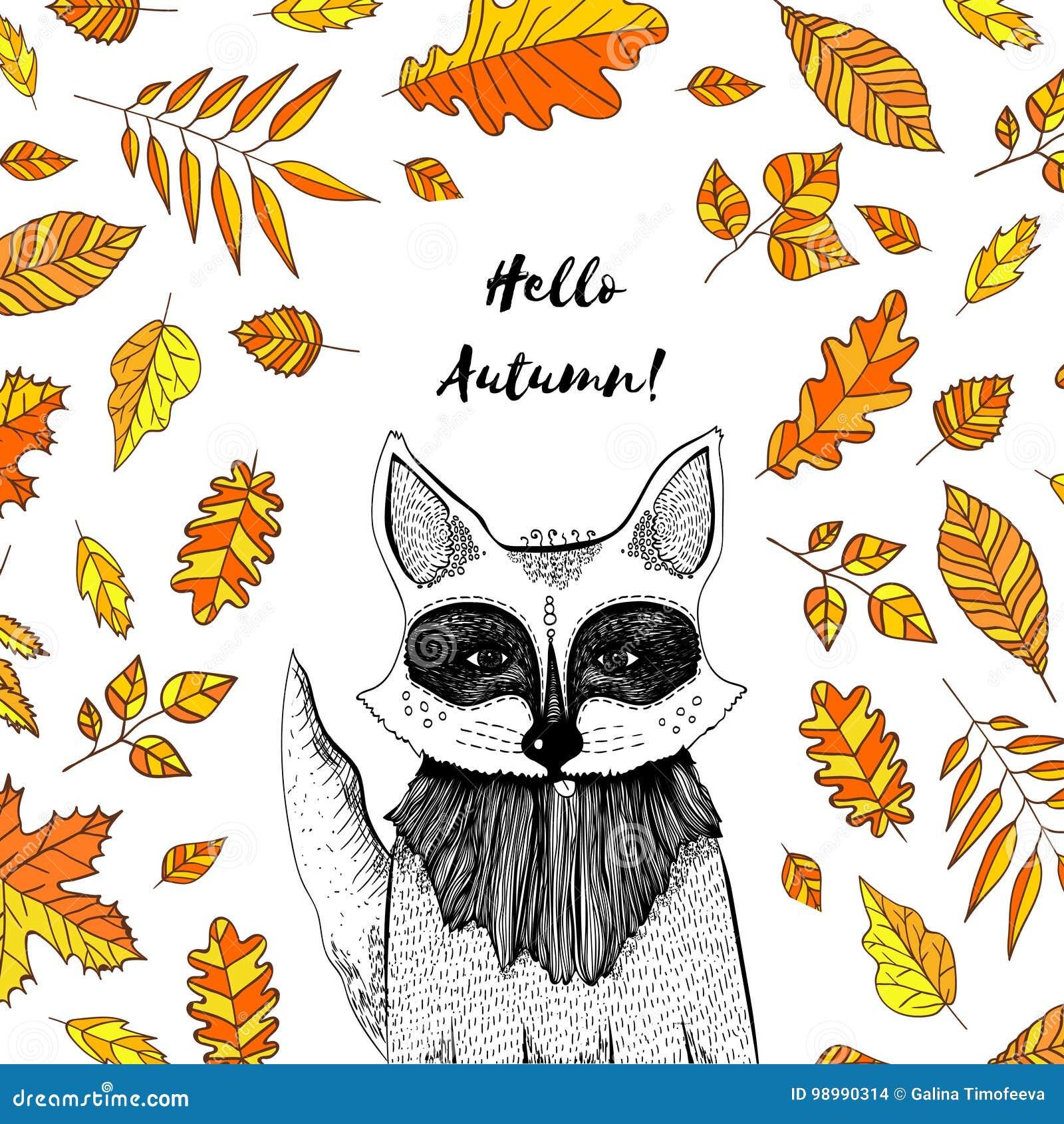 Vektorillustration Des Fuchses Mit Herbstlaub Entwerfen Sie ...