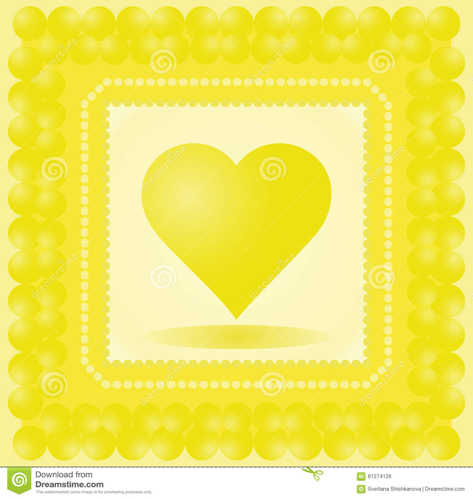 Vektorillustration Des Herzens Gelbes Herz Im Rahmen ...