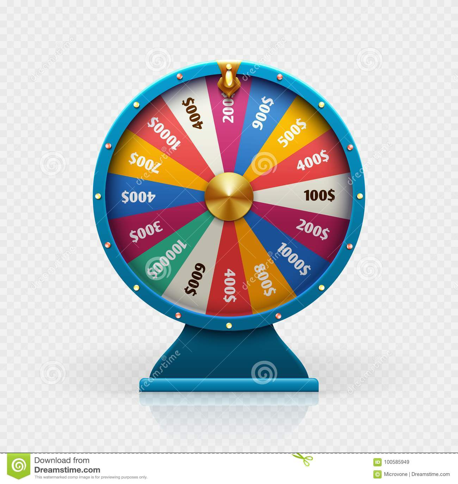 Vektorillustration des Vermögens der Roulette 3d lokalisierte gewinnen Rad für spielenden Hintergrund und Lotterie Konzept