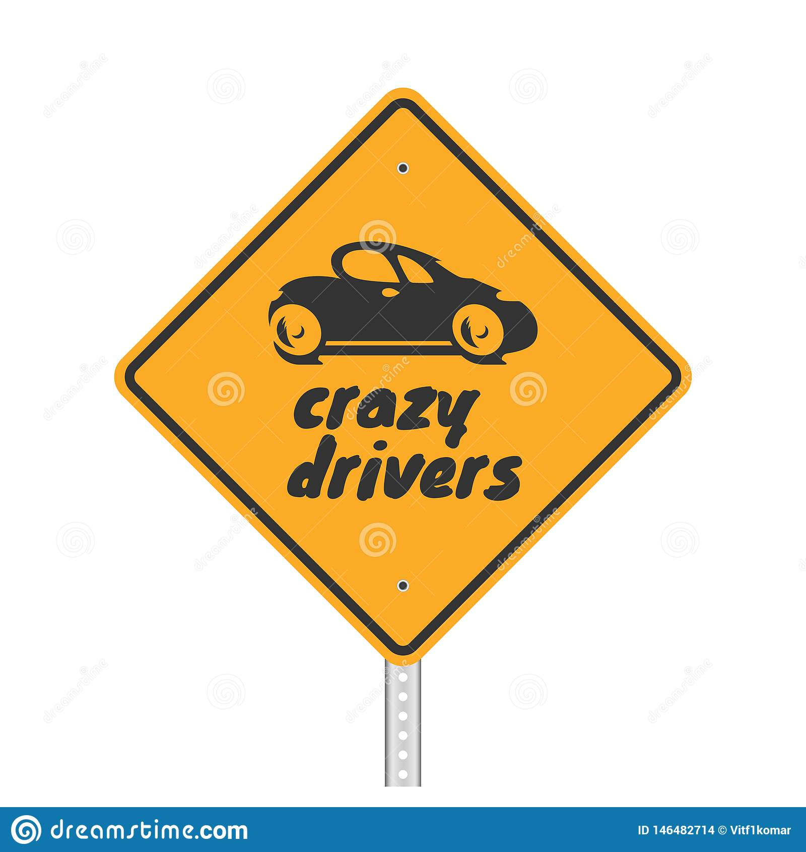 Vektorillustration eines lustigen Verkehrsschildes auf Weiß