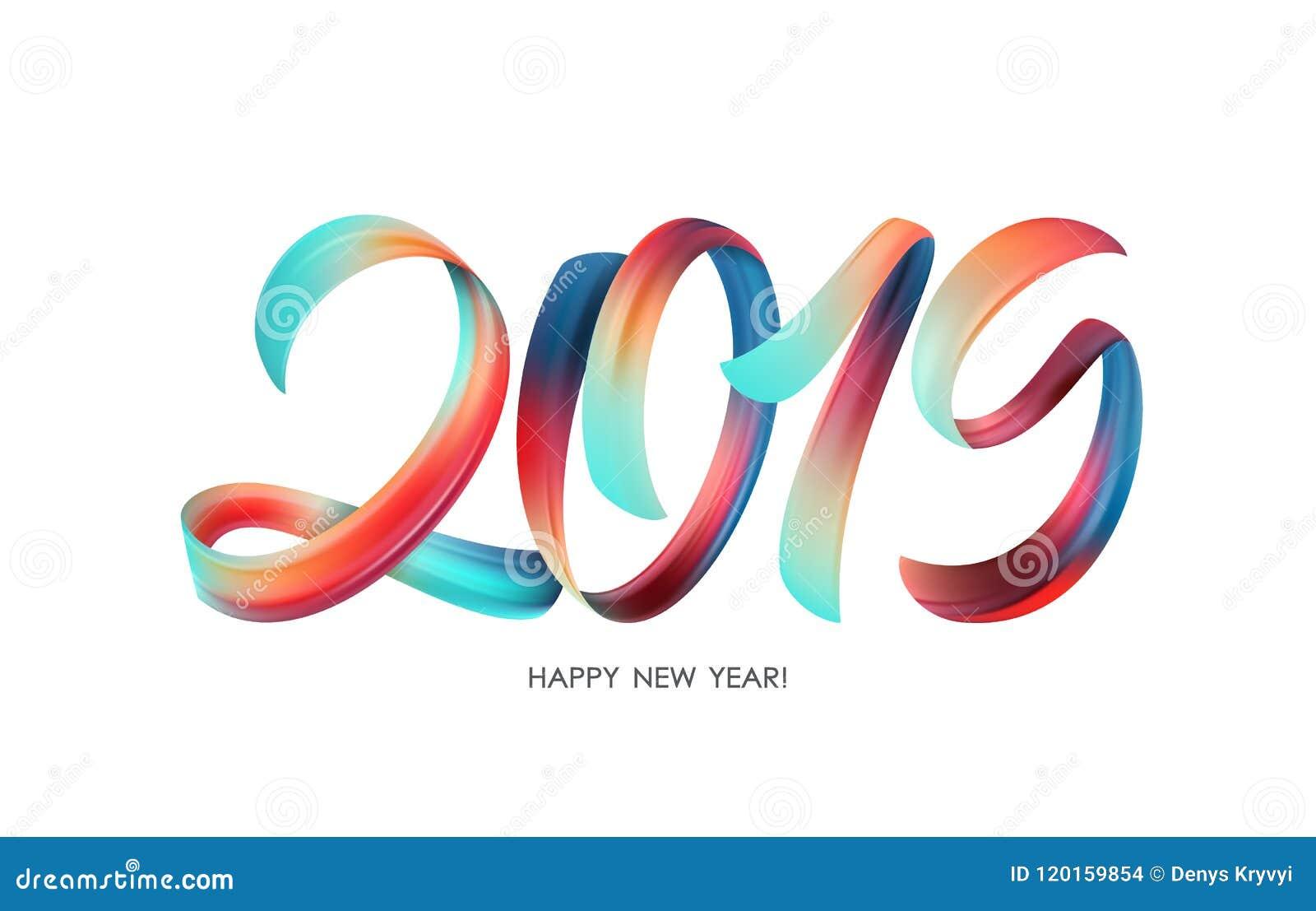 Vektorillustration: Färgrik kalligrafi för penseldragmålarfärgbokstäver av 2019 lyckliga nya år på vit bakgrund