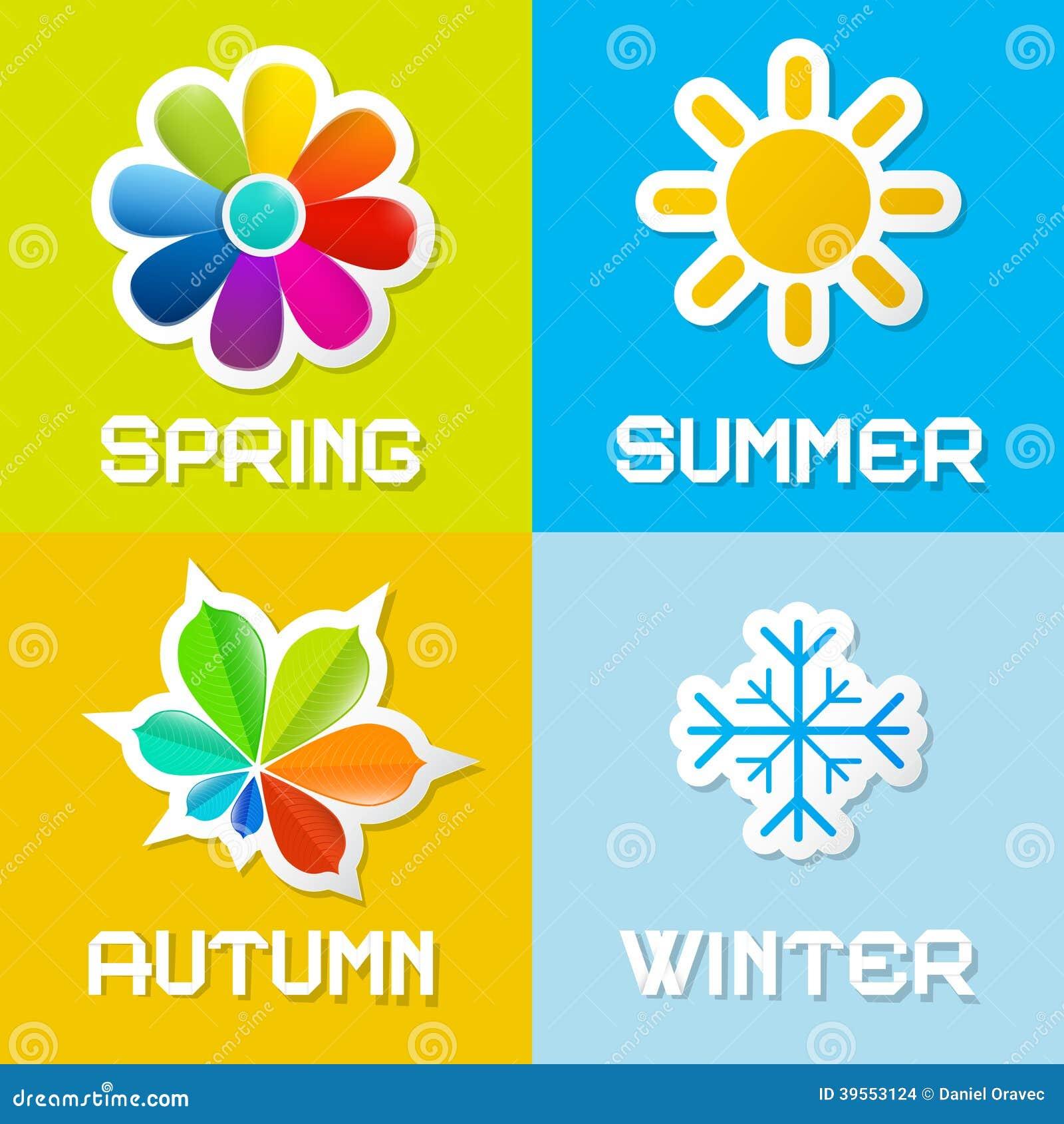 Vektorillustration för fyra säsonger