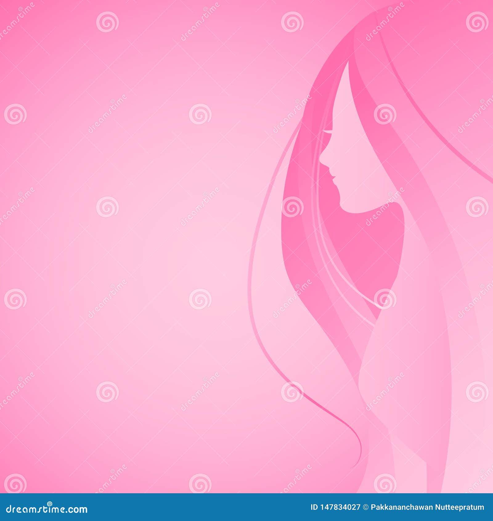 Vektorillustration Haar-Schattenbildkopfes der Frau des langen und der halben oberen Karosserieseiten-Ansichtrosasteigung im flac