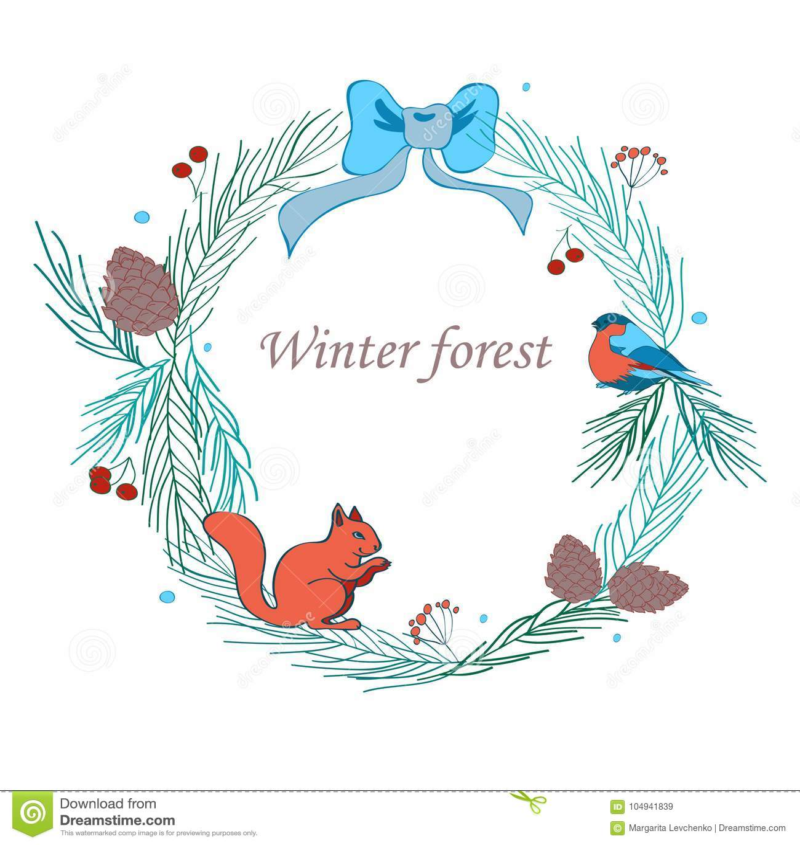 Vektorillustration, julram med skogen och celebratory beståndsdelar Filialer av gran, kottar, domherre, ekorre