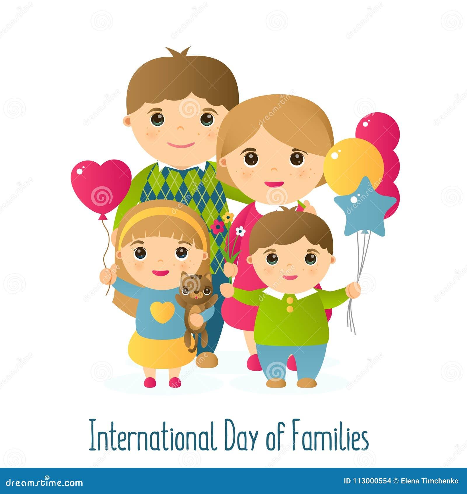 Vektorillustration med bilden av folk En lycklig familj av fyra och en katt Internationell dag för ferie av familjer
