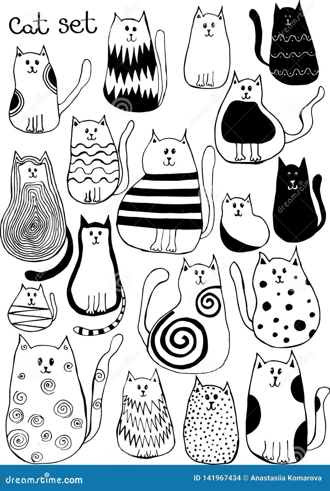 Vektorillustration med gulliga klotterkatter Djur konst för översikt