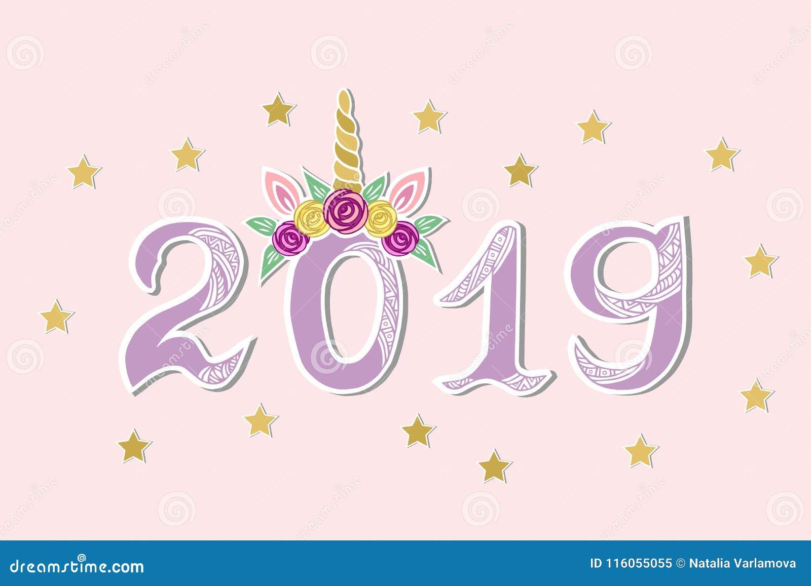 Vektorillustration med 2019 och Unicorn Tiara som vykortet för lyckligt nytt år