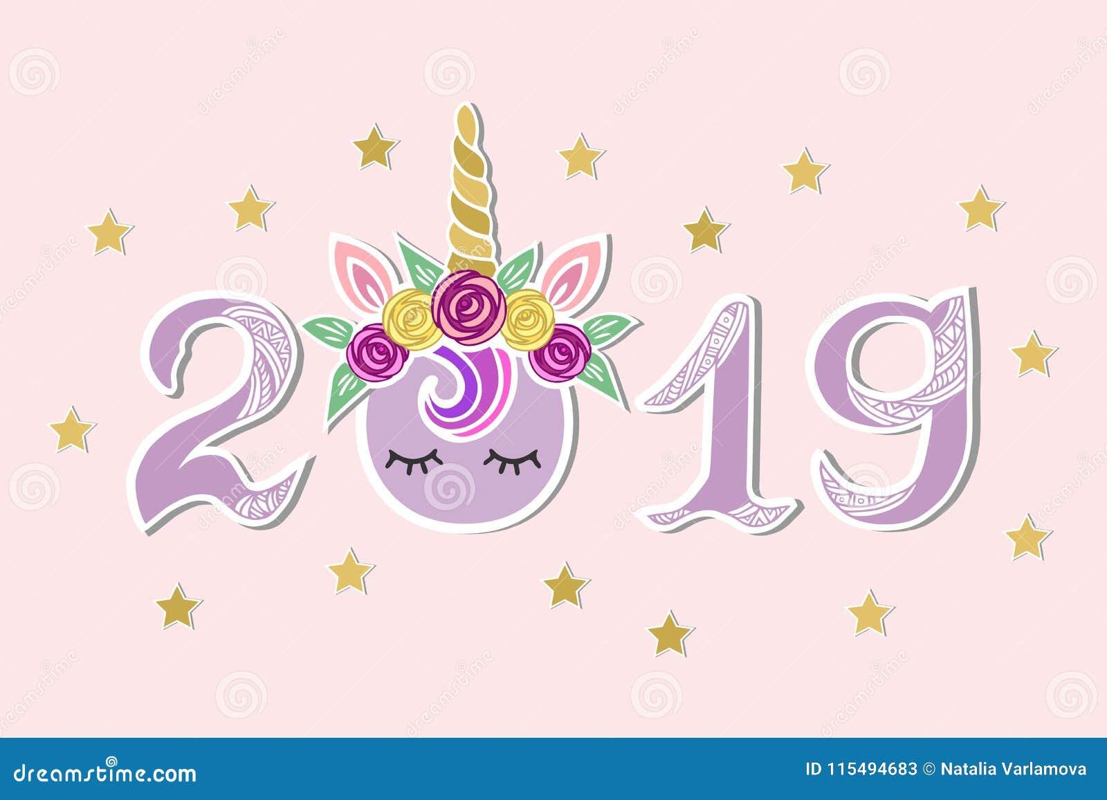 Vektorillustration med 2019, Unicorn Tiara och ögon som vykortet för lyckligt nytt år