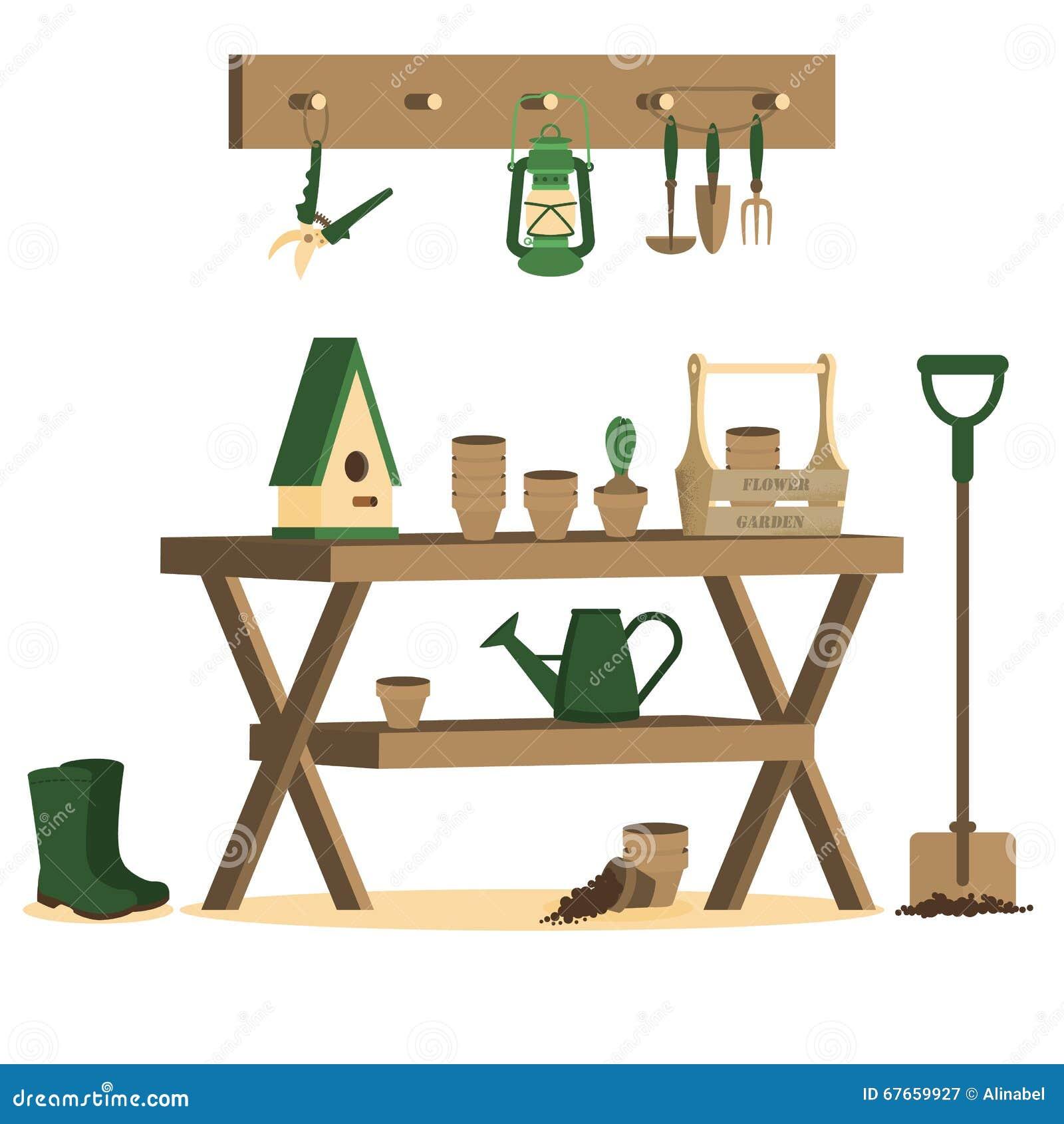 Vektorillustration mit Gartenarbeitwerkzeugen