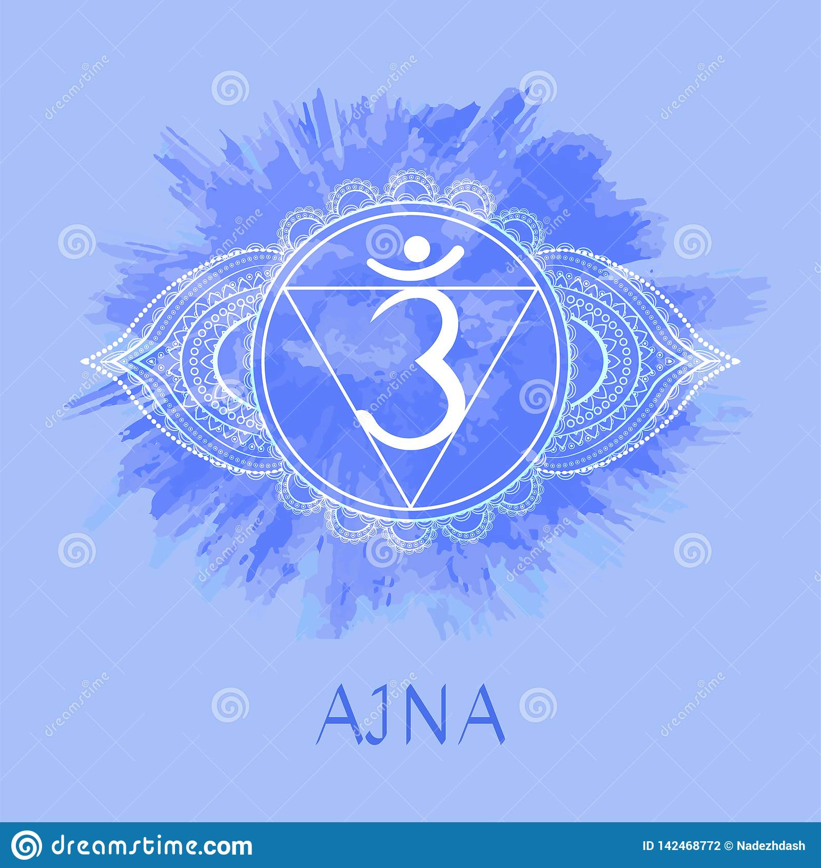 Vektorillustration mit Symbol chakra Ajna auf Aquarellhintergrund