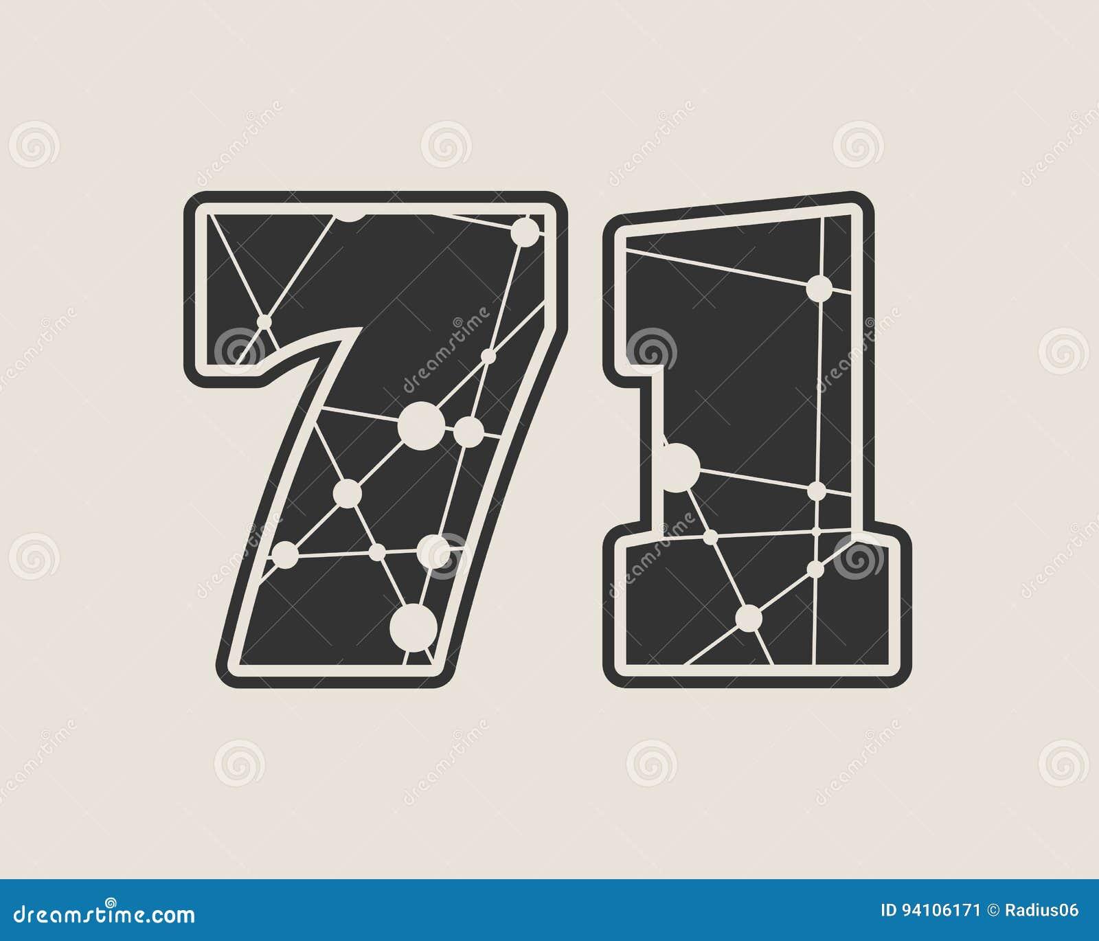 Vektorillustration mit 71 Zahlen