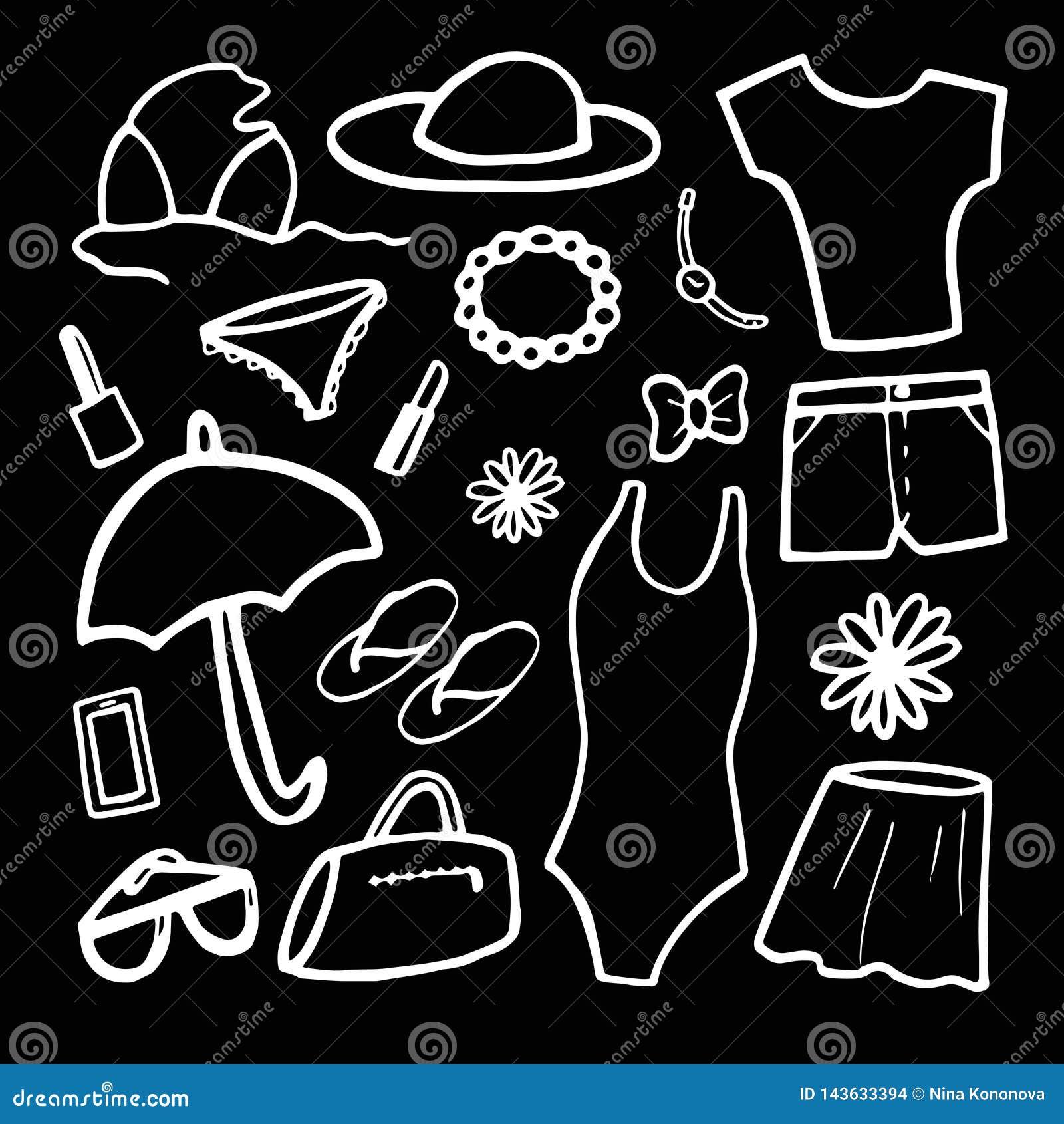 Vektorillustration på svart bakgrund Mode ställde in av kvinnans sommarkläder och tillbehör svart white