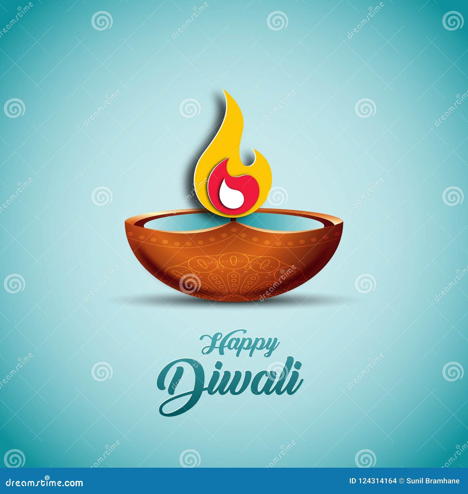 Vektorillustration på temat av den traditionella berömmen av Diwali