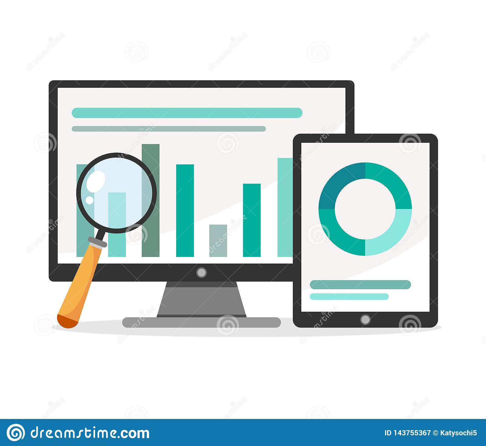 Vektorillustration von Analytics und von Datenverwaltungskonzept Weißer Hintergrund