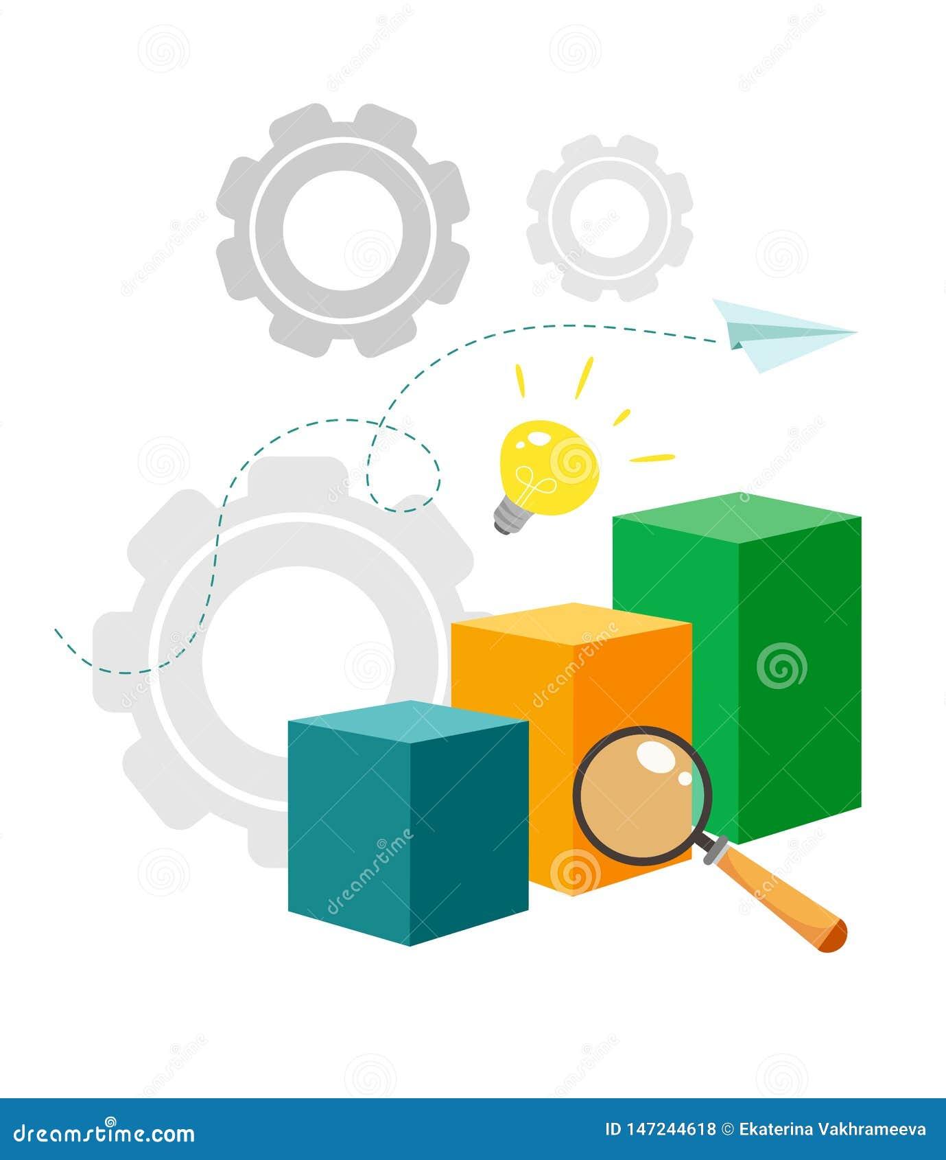 Vektorillustration von Analytics und von Datenverwaltungskonzept Wei?er Hintergrund