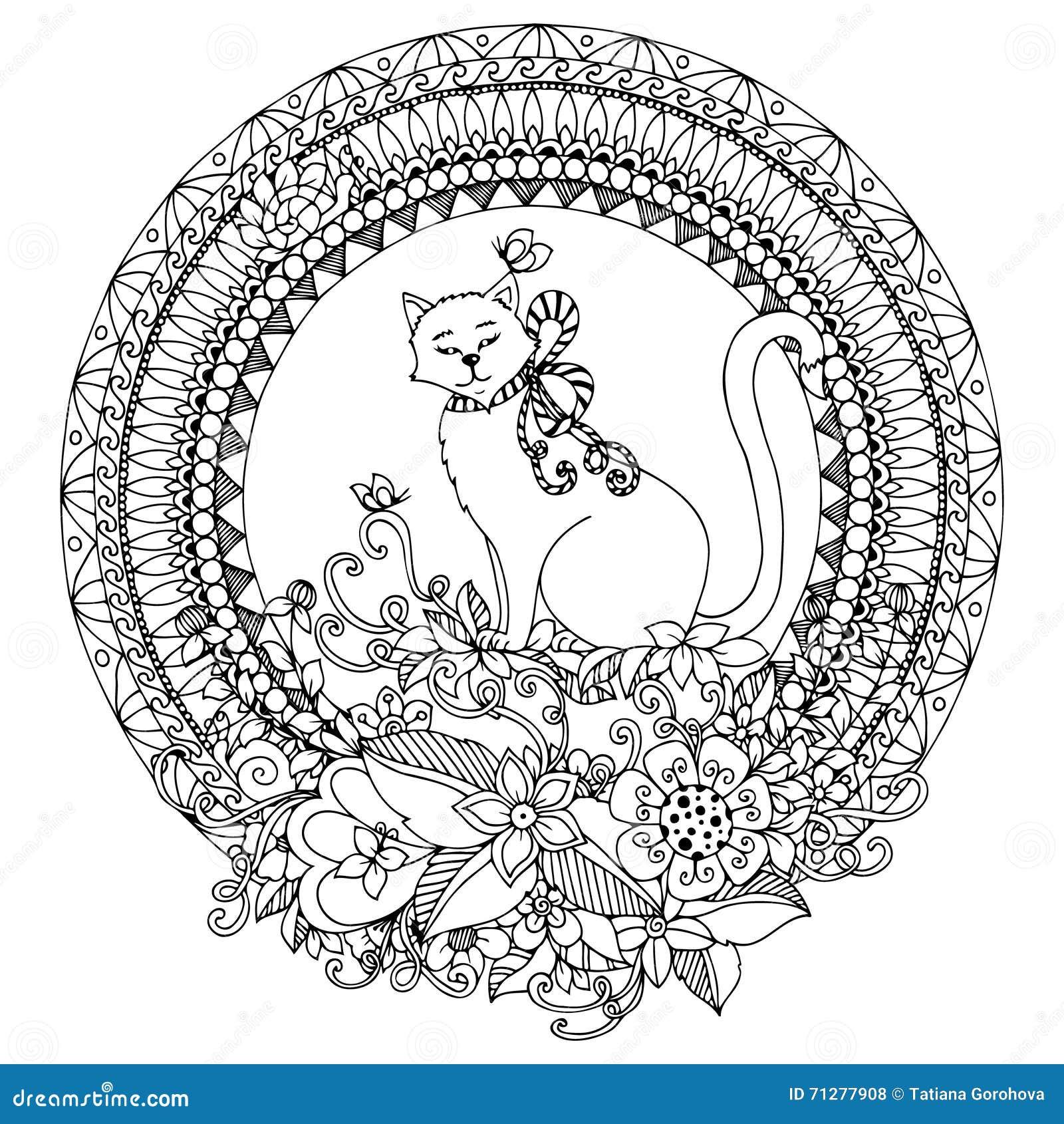 Vektorillustration Zen Tangle Katze Im Runden Rahmen