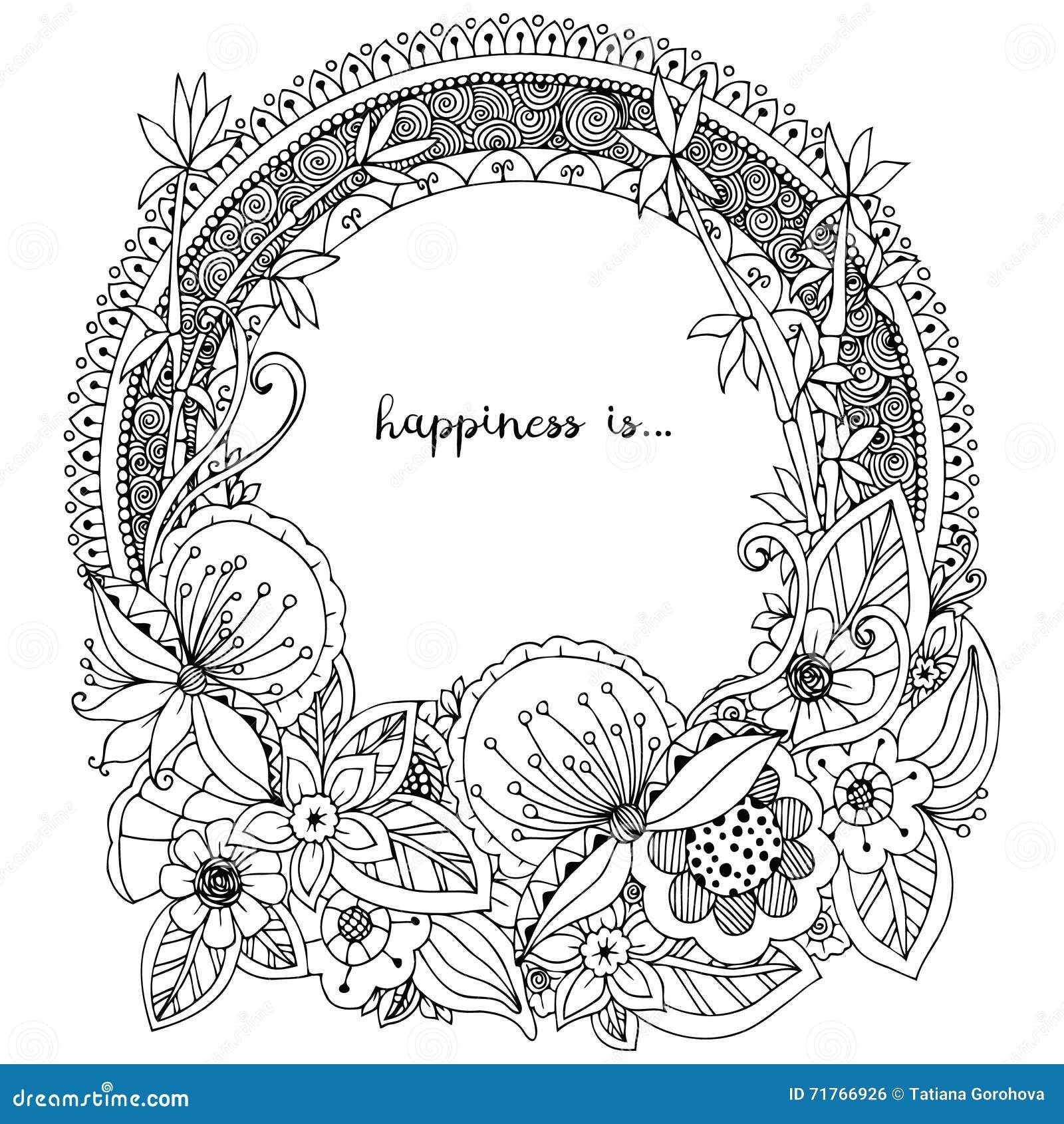 Vektorillustration Zen Tangle, klotterrundaram med blommor, mandala Anti-spänning för färgläggningbok för vuxna människor Svart v