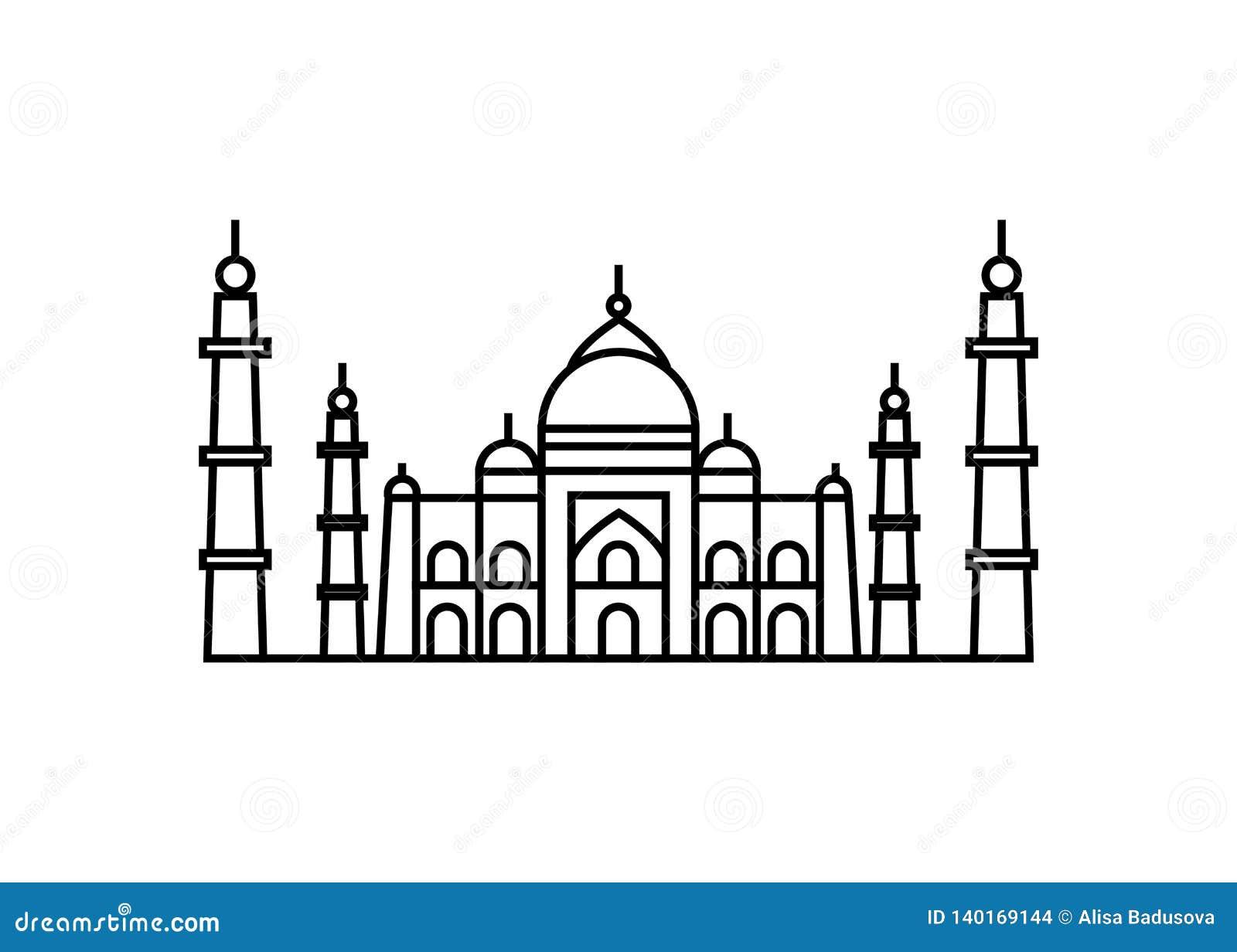 Vektorillustrationbegrepp av den Taj Mahal symbolen - uppsättning av isolerade vektorsymboler