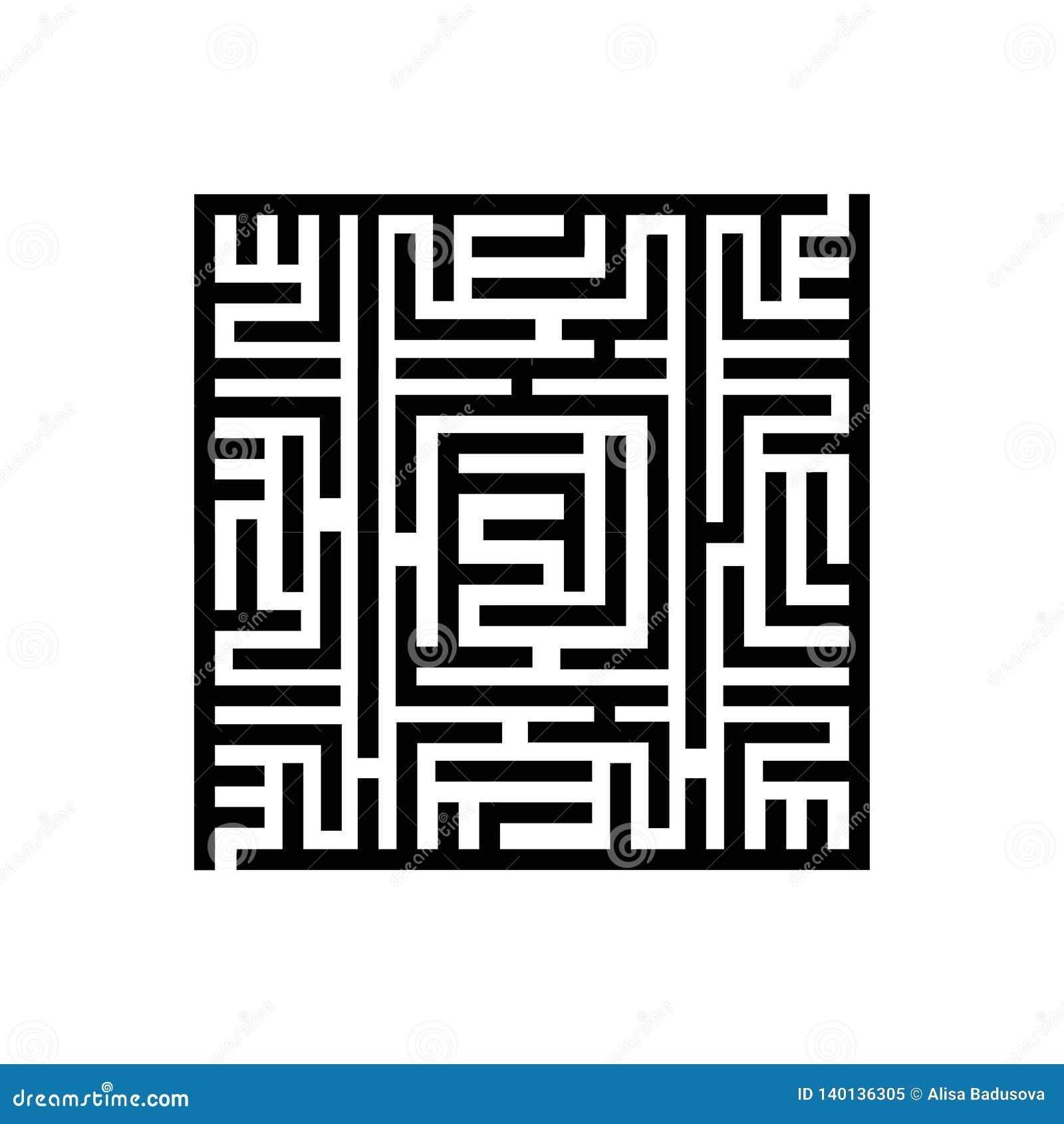 Vektorillustrationbegrepp av fyrkantig labyrintlabyrint isolerad objektwhite för bakgrund 3d symbol