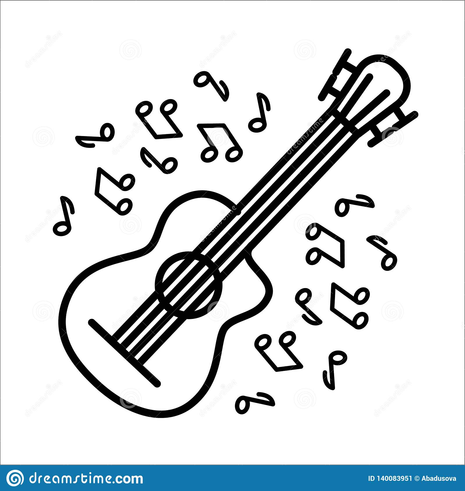 Vektorillustrationbegrepp av instrumentet för flöjtgitarrmusik - uppsättning av isolerade vektorsymboler