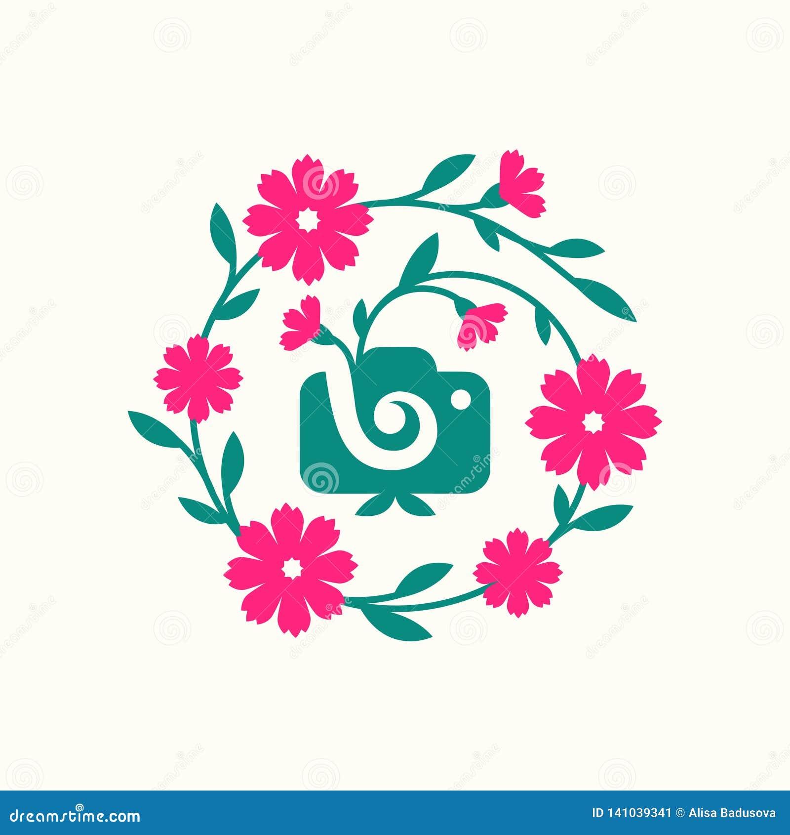 Vektorillustrationbegrepp av mallen för symbol för fotografikameralogo med blomman