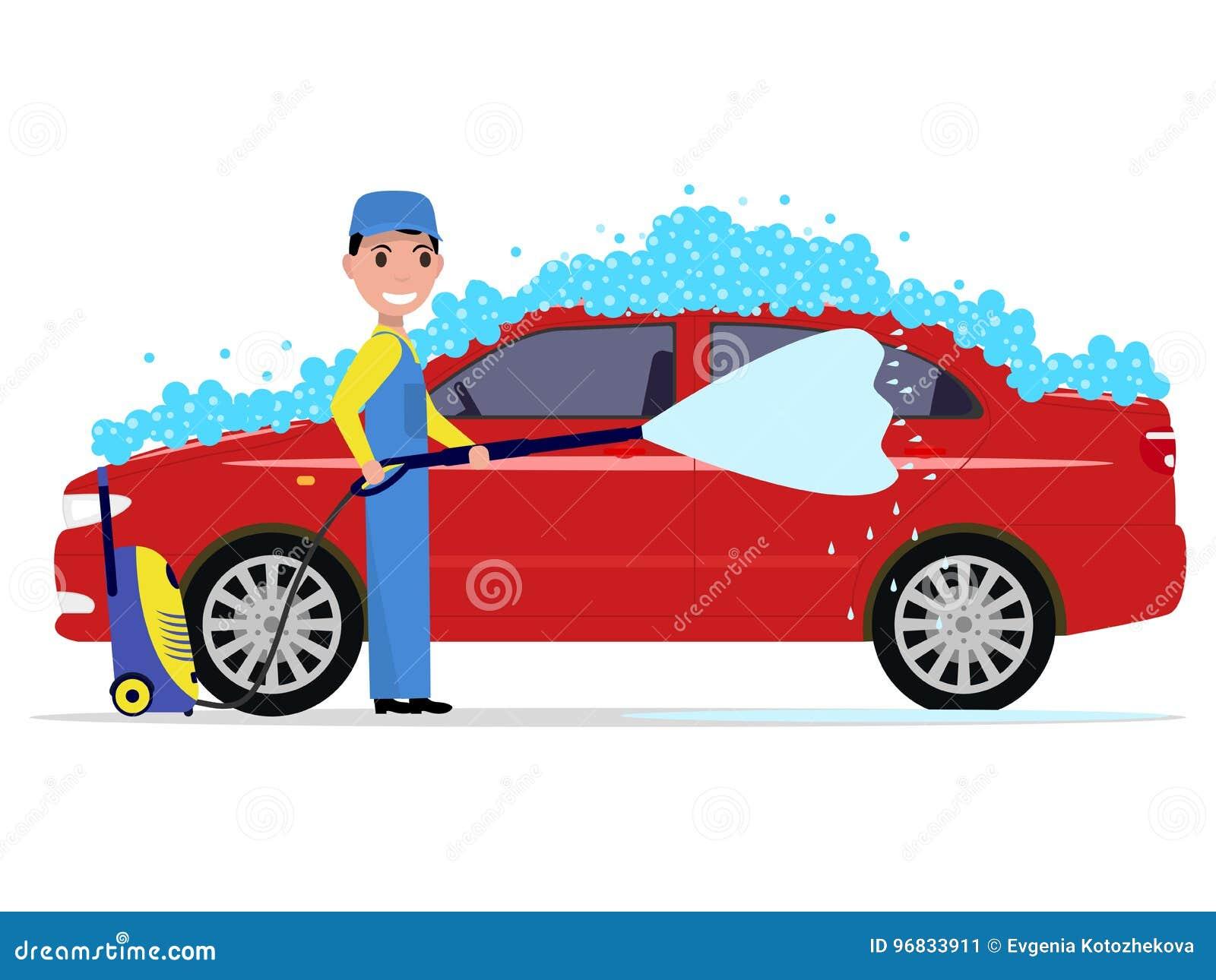 Vektorillustrationen av en tecknad filmman tvättar en bil