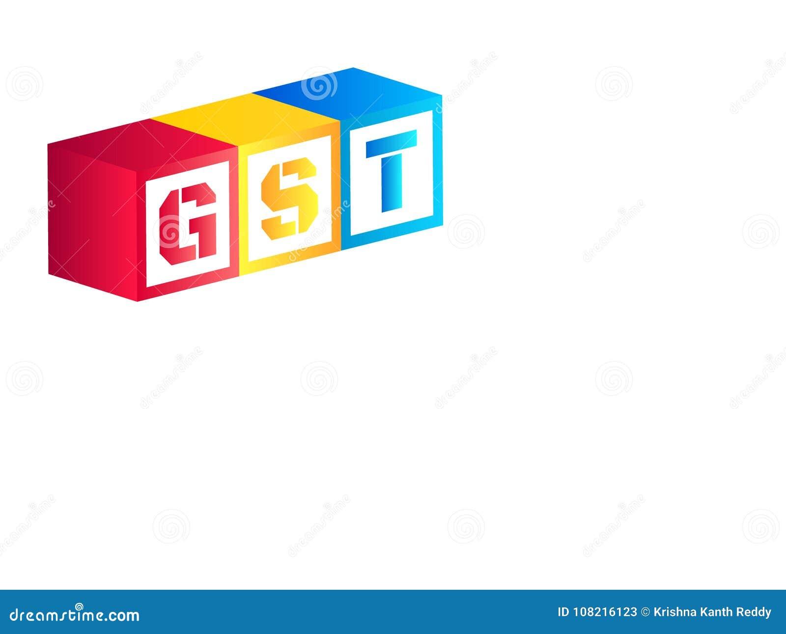 Vektorillustrationen av varor och tjänst beskattar eller GST med röda, gula och blåa färgtärning eller kuber på vit bakgrund med