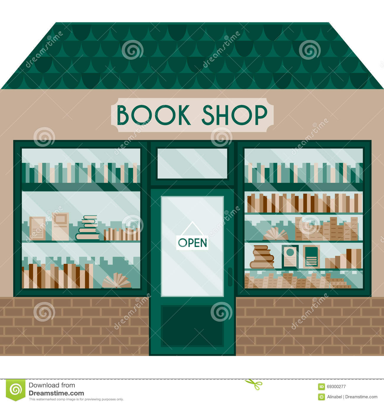 Vektorillustrationen med boken shoppar