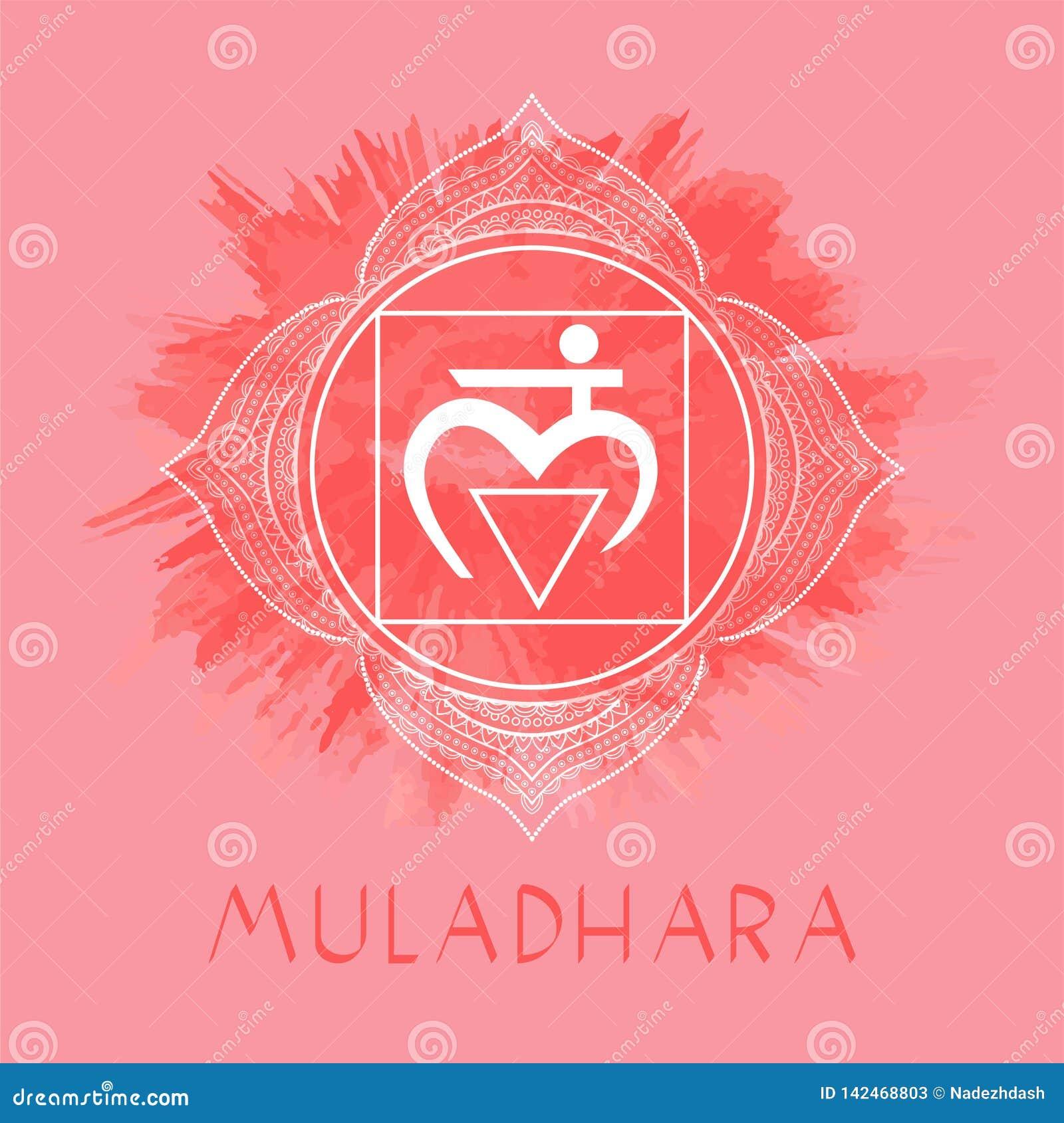 Vektorillustrationen med symbolet Muladhara - rota chakraen på vattenfärgbakgrund