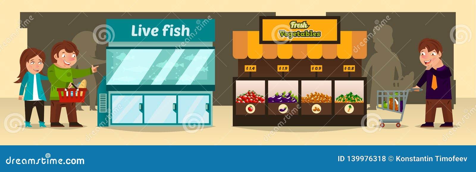 Vektorillustrationen, shoppare gör köp shoppar in Bänk av med nya grönsaker, ett akvarium med den levande fisken,