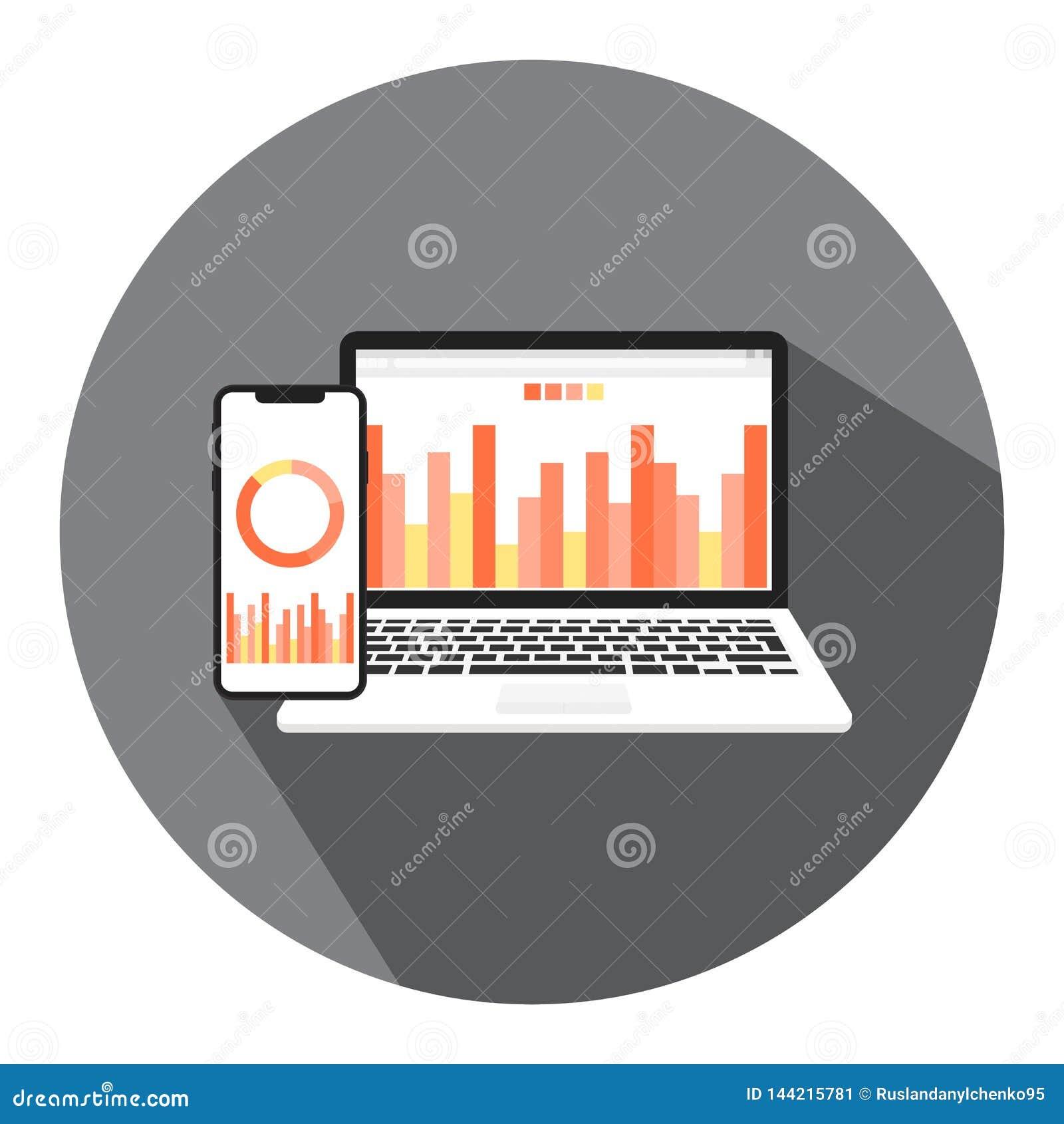 Vektorillustrationer av online-affären, den finansiella affären och pengarrapporten med begreppet av online-ledning av finansiell
