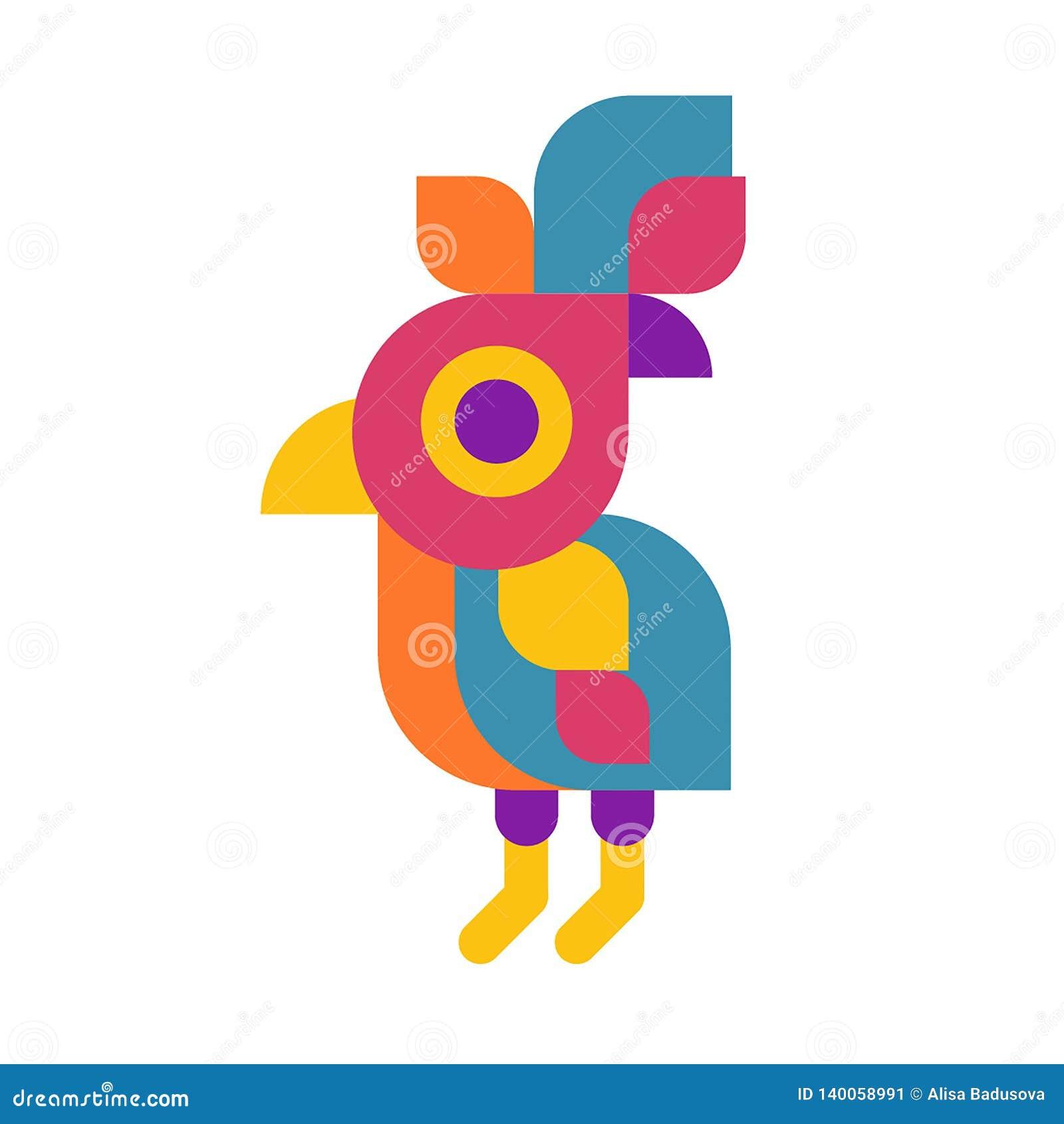 Vektorillustrationskonzept des Papageienvogellogos Bunte Ikone auf weißem Hintergrund