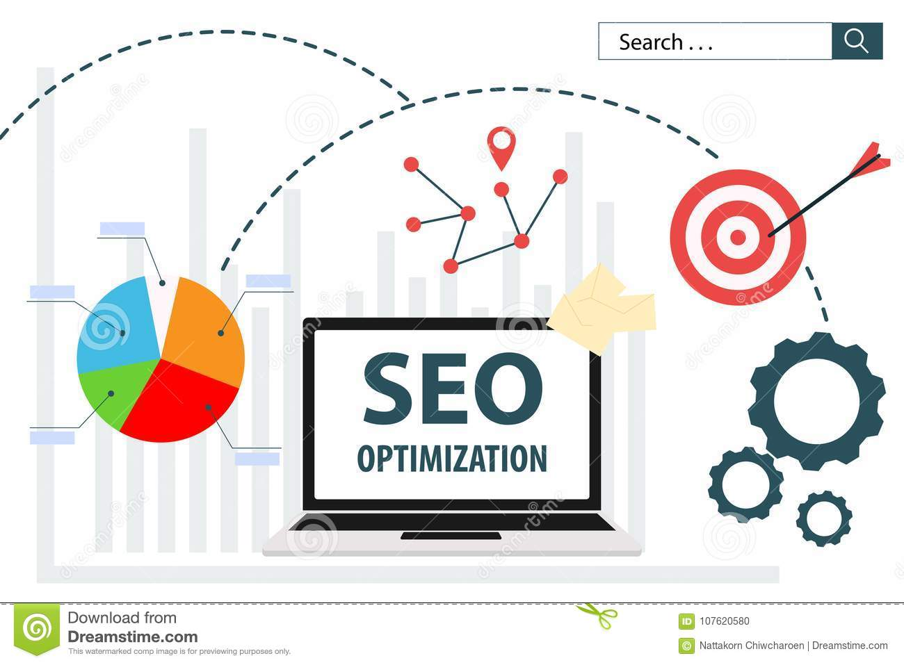 Vektorillustrationsnetz-Analytikdesign SEO Optimizations flaches