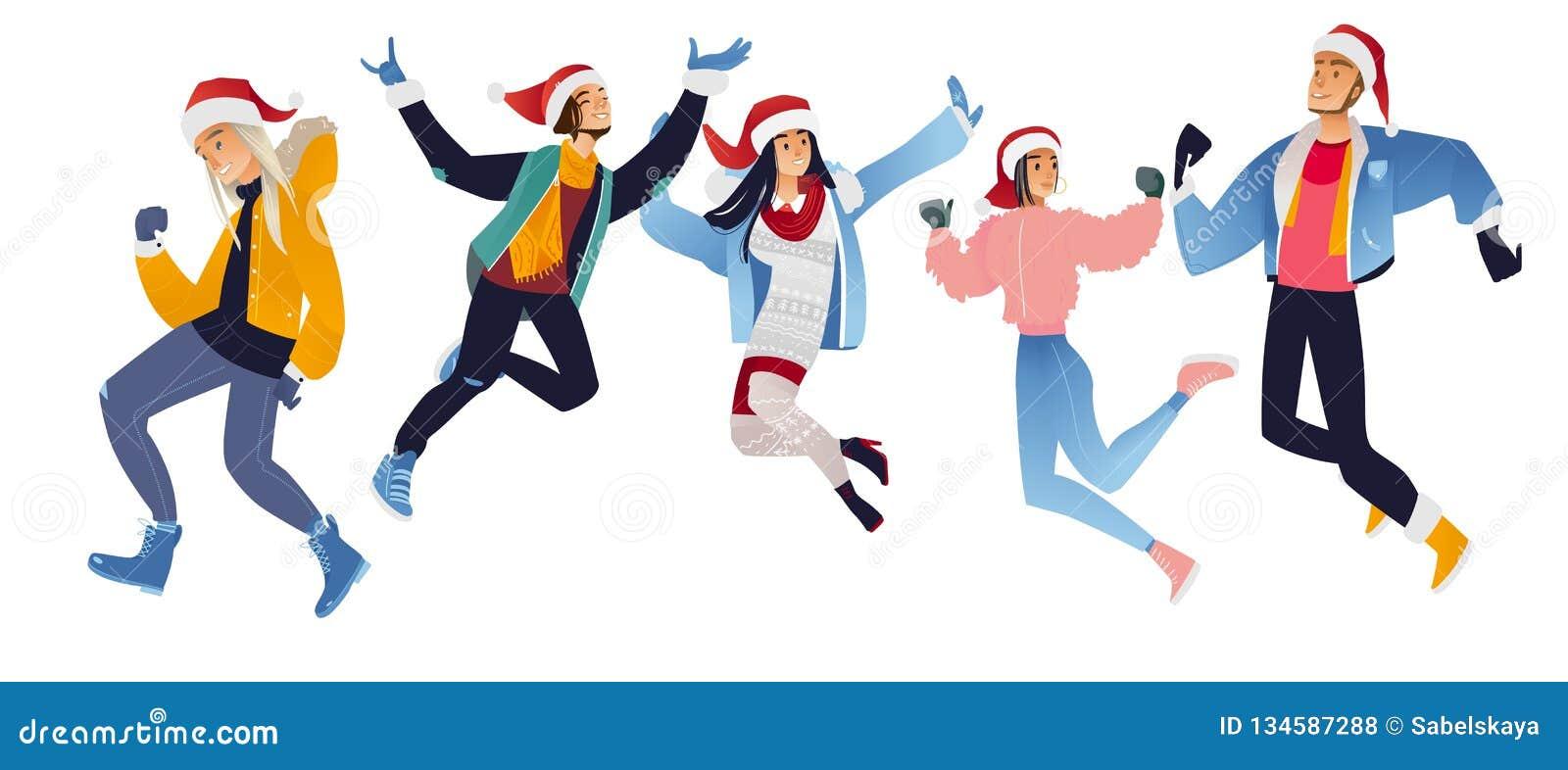 Vektorillustrationssatz glückliche junge Leute in Santa Claus-Hüten, die Spaß springen und haben