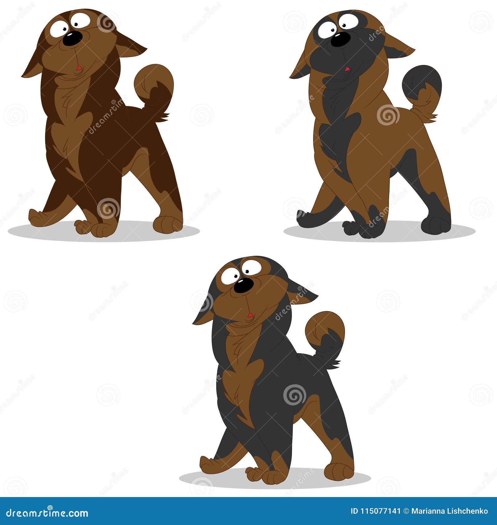 Vektorillustrationssatz Hundecharaktere überraschte graues Braun c