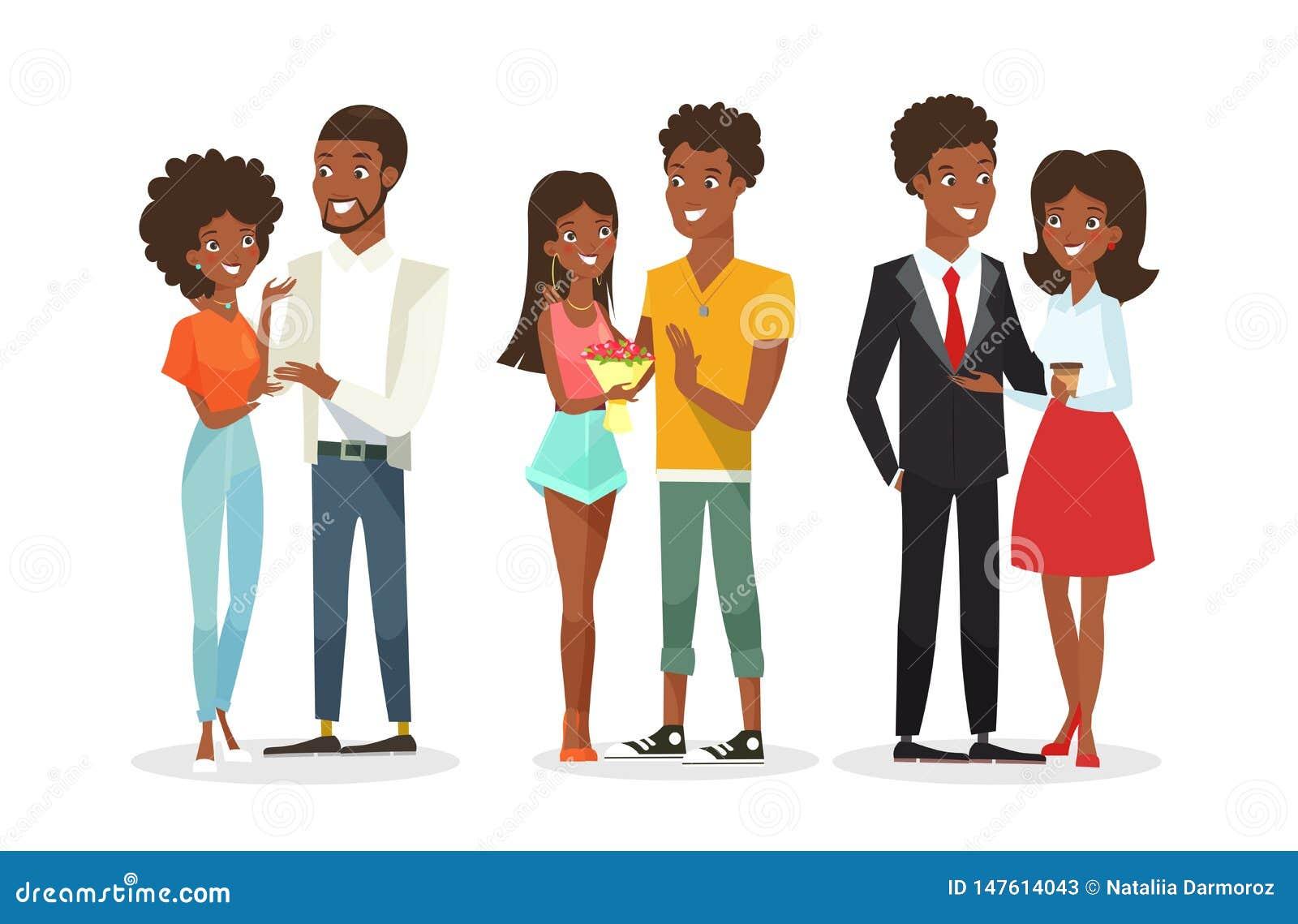 Vektorillustrationssatz Nette Afroamerikanerpaare Auf Dem