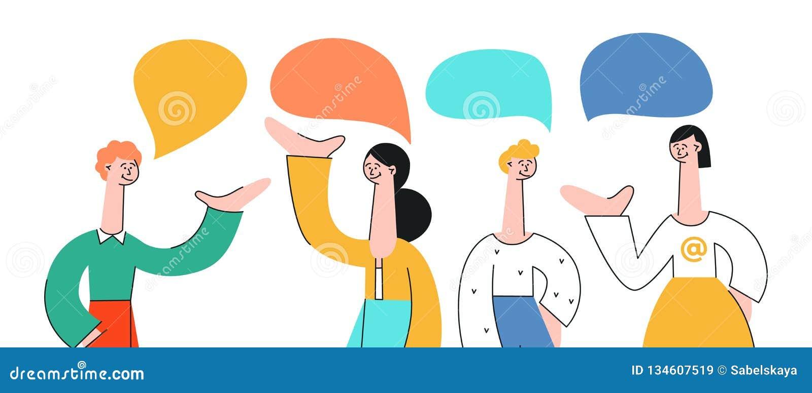 Vektorillustrationssatz Unterhaltungsleute mit Spracheblasen