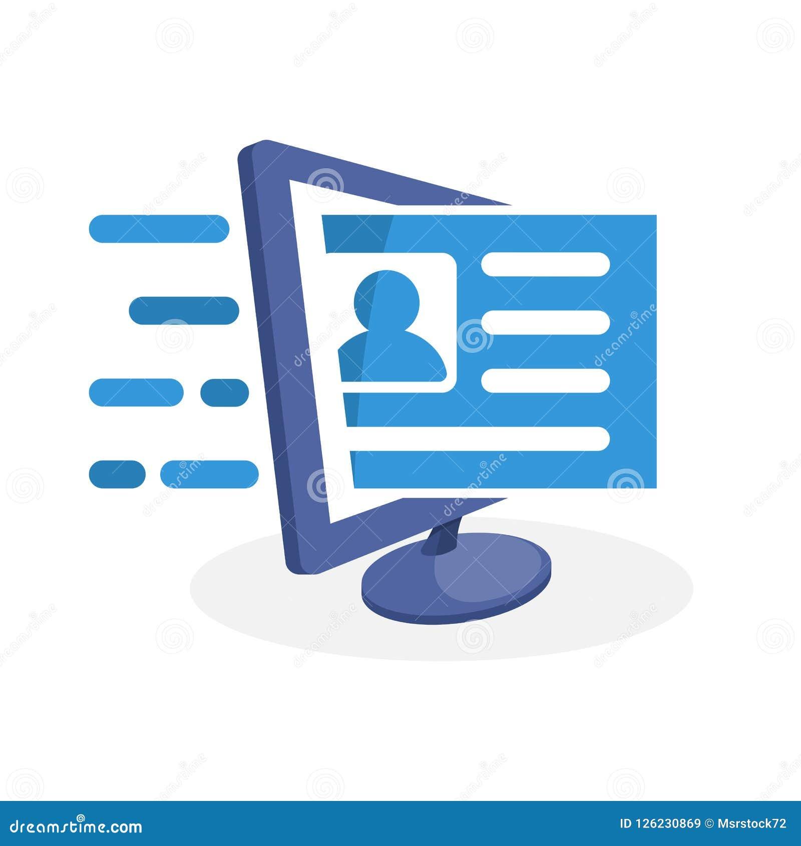 Vektorillustrationsymbol med digitalt massmediabegrepp om online-registrering
