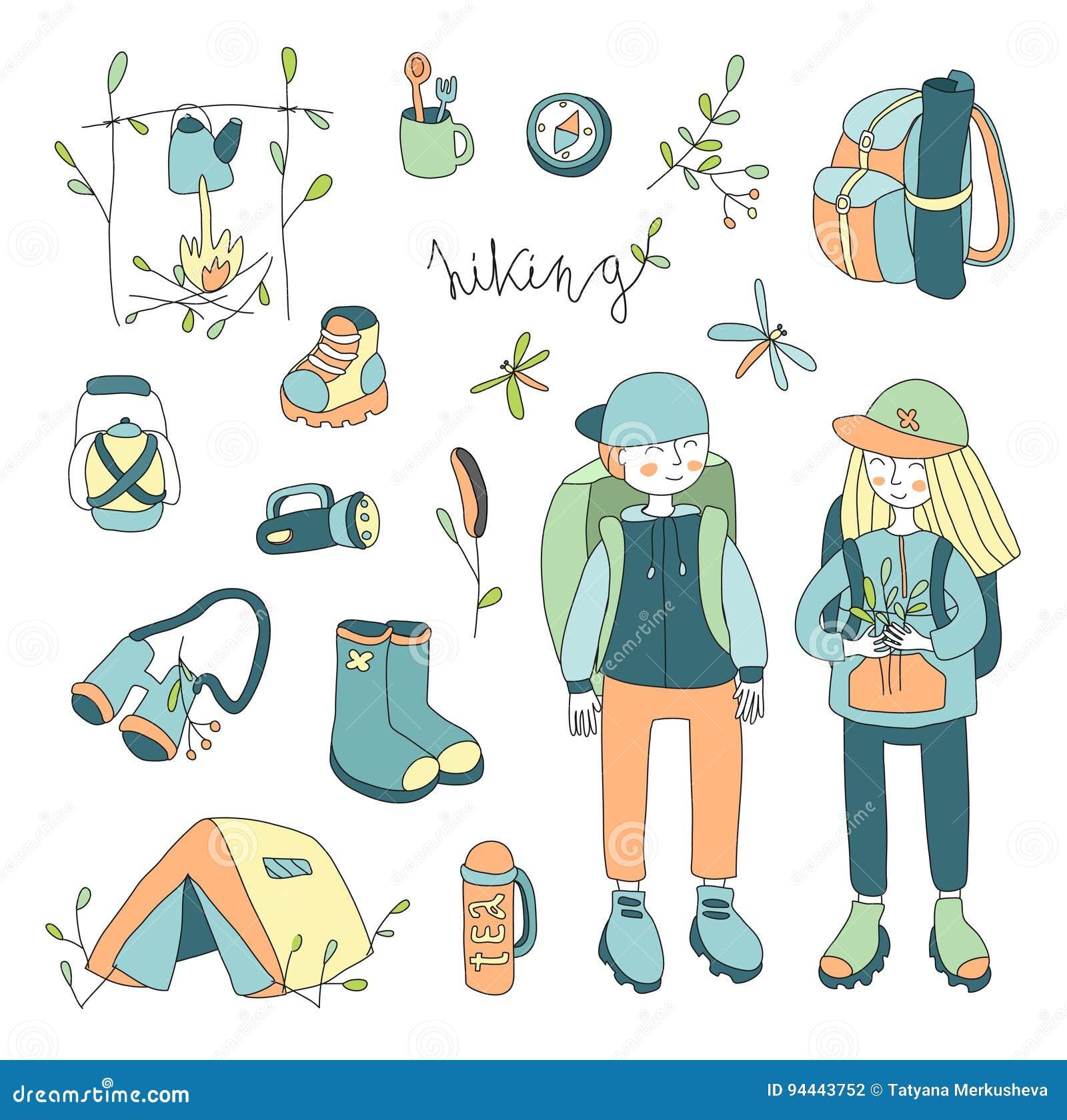Vektorillustrationuppsättning på temat av utomhus- och att fotvandra och att campa, picknick