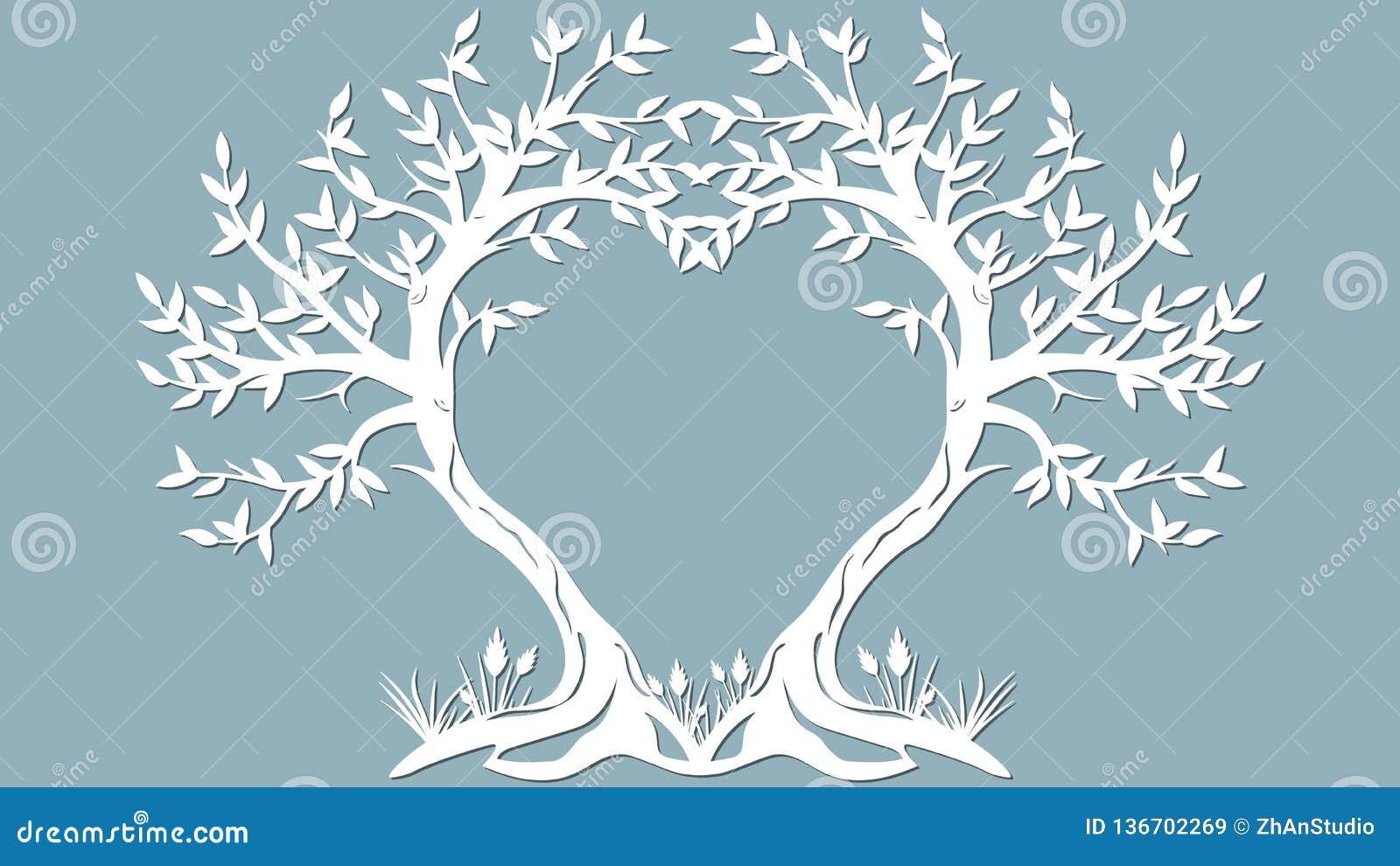 Vektorillustrationvykort Inbjudan- och hälsningkort med träden i form av en hjärta Modell för laser-snittet,